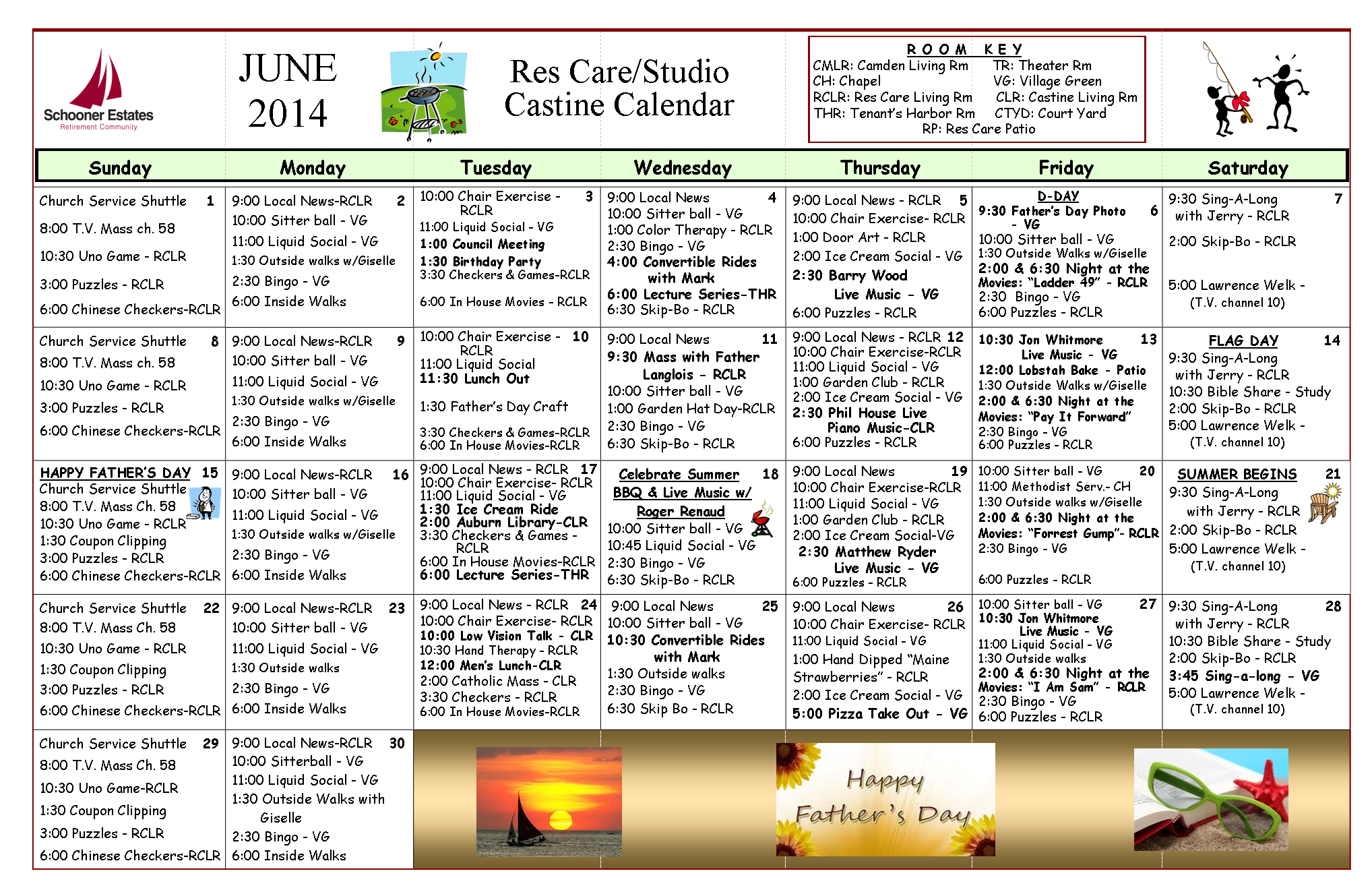 June 2014 Res Care and Castine Calendar of Events