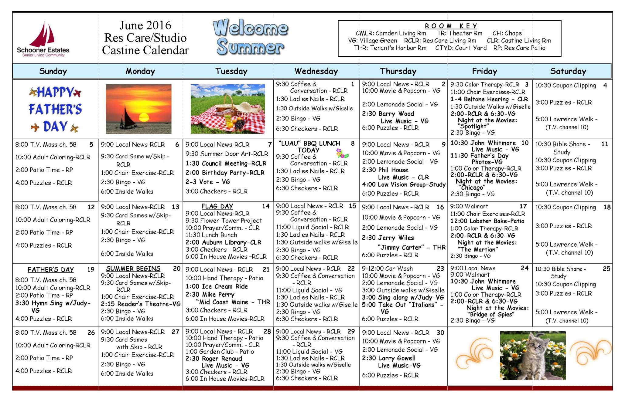June 2016 Schooner Estates Activity Calendars