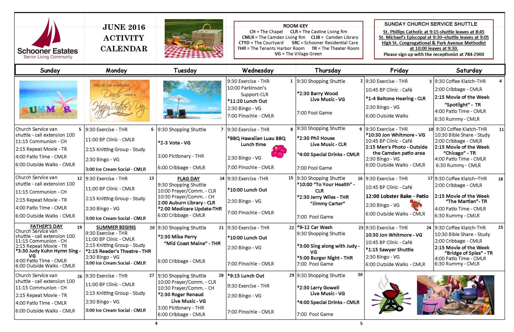 June 2016 Independent Living Activity Calendar