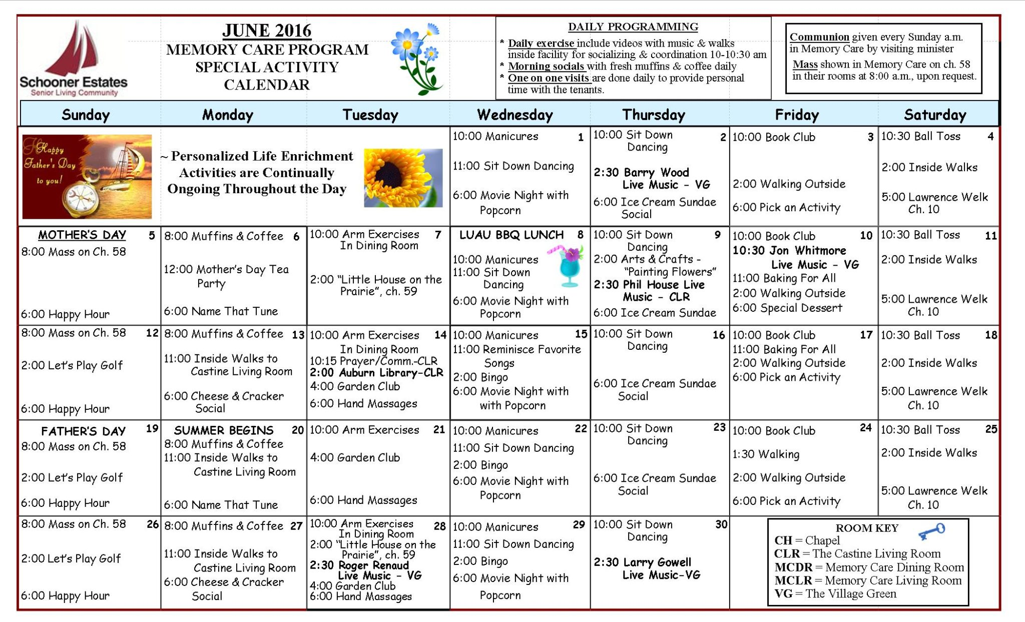 June 2016 Memory Care Activity Calendar