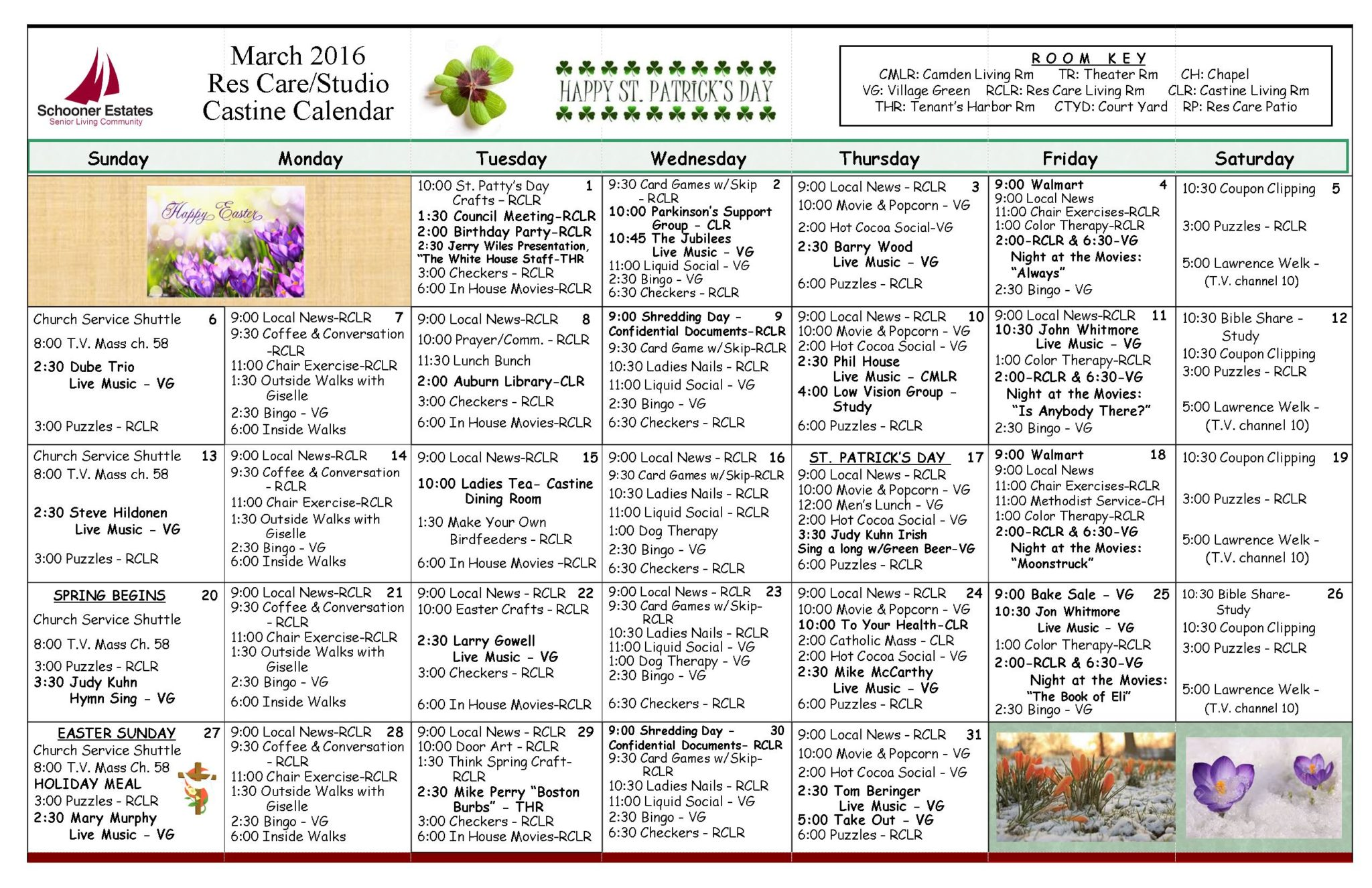 March 2016 Assisted Living and Residential Care Activity Calendar