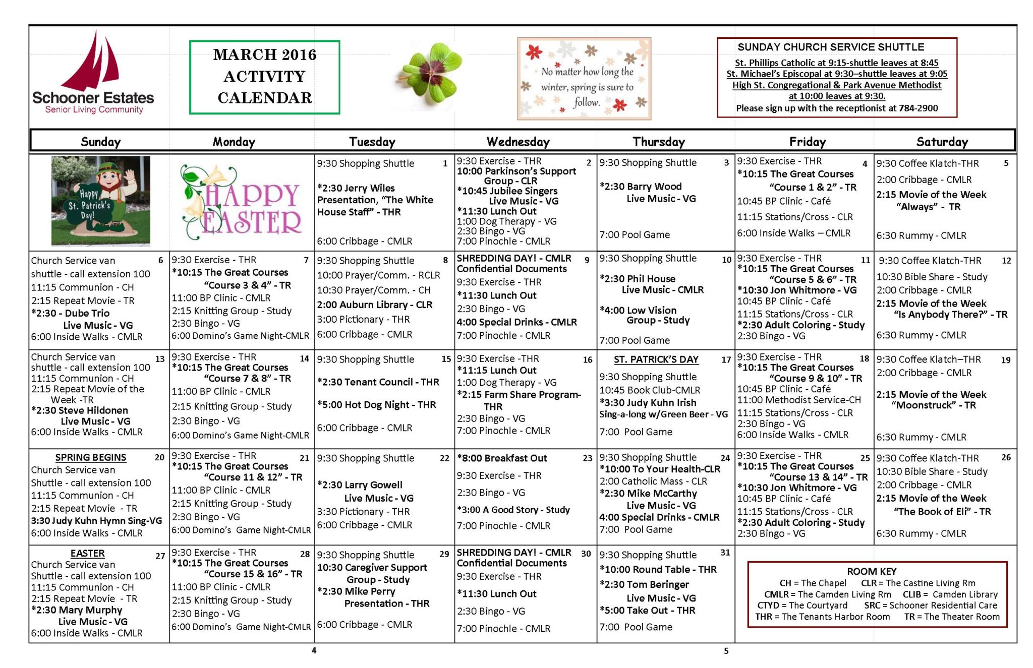 March 2016 Independent Living Activity Calendar