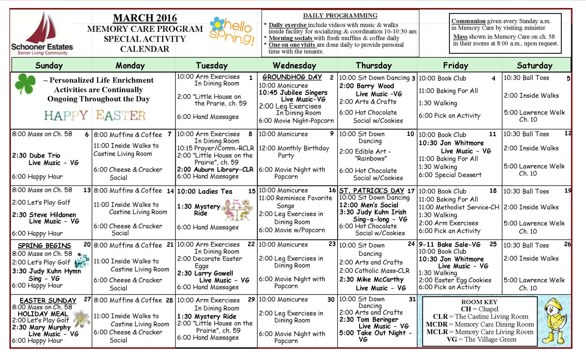 March 2016 Memory Care Activity Calendar