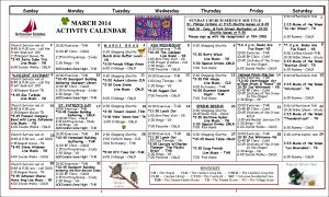 March Activity Calendar 2014