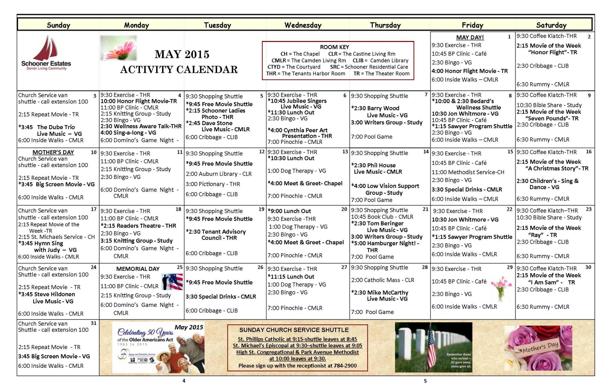 May 2015 activity calendar