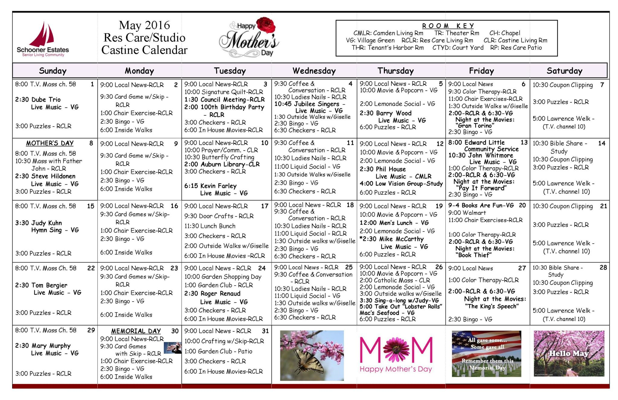 May 2016 Assisted Living and Residential Care Activity Calendar