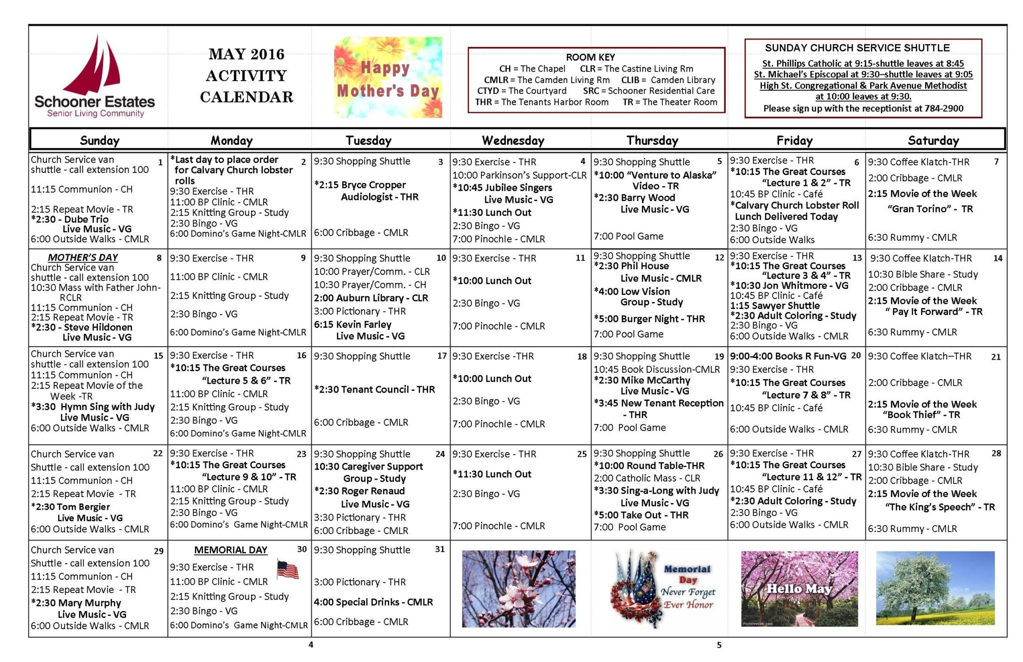 May 2016 Independent Living Activity Calendar