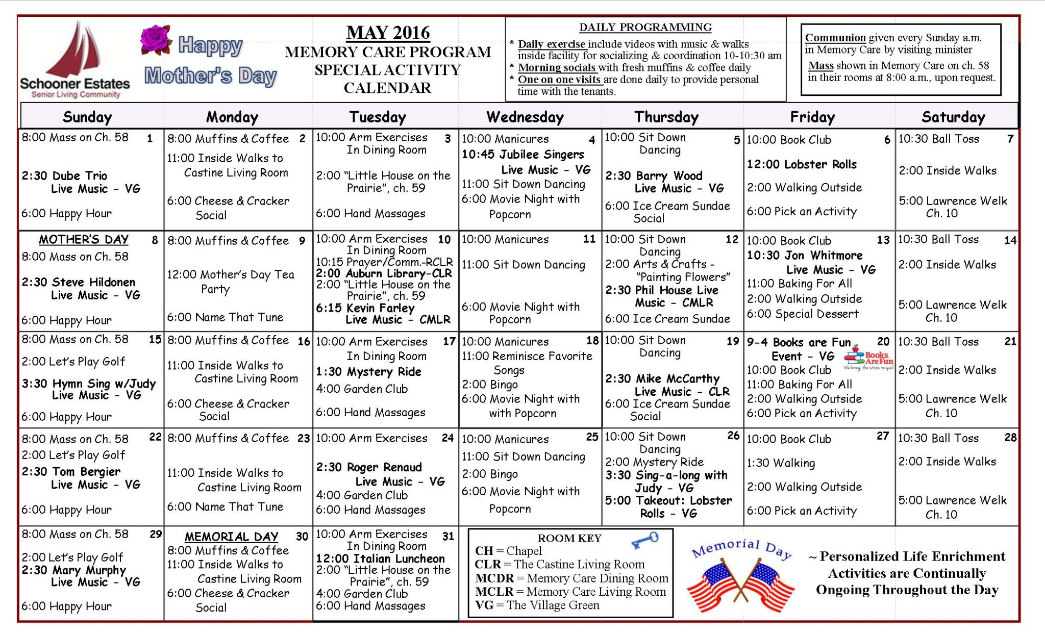 May 2016 Memory Care Activity Calendar