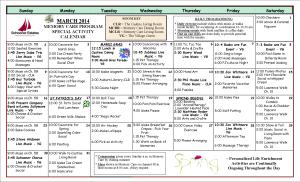 Memory Care Calendar March 2014
