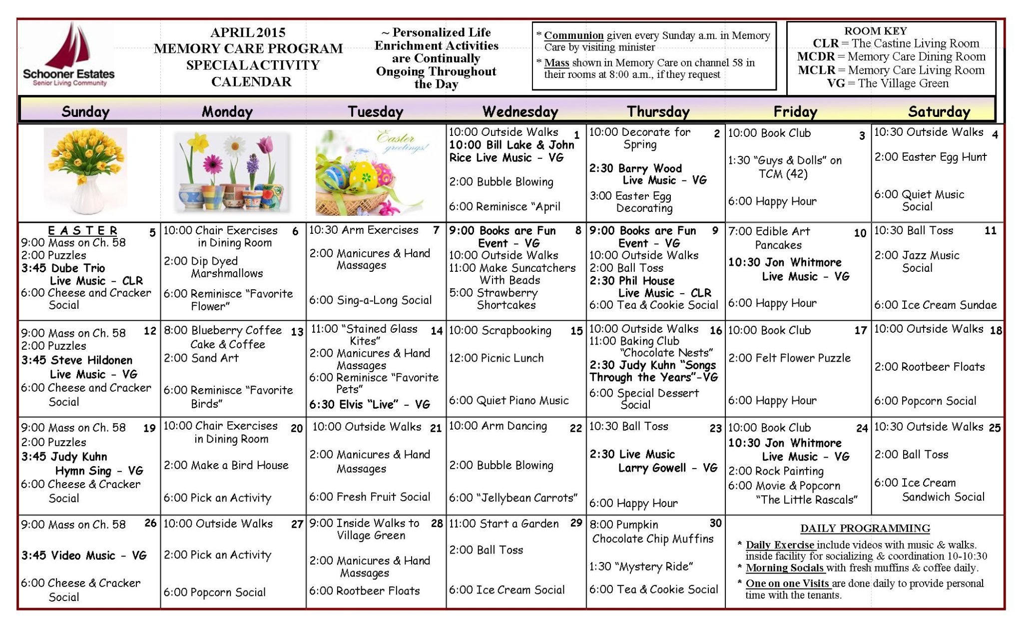Memory Care Calendar April 2015