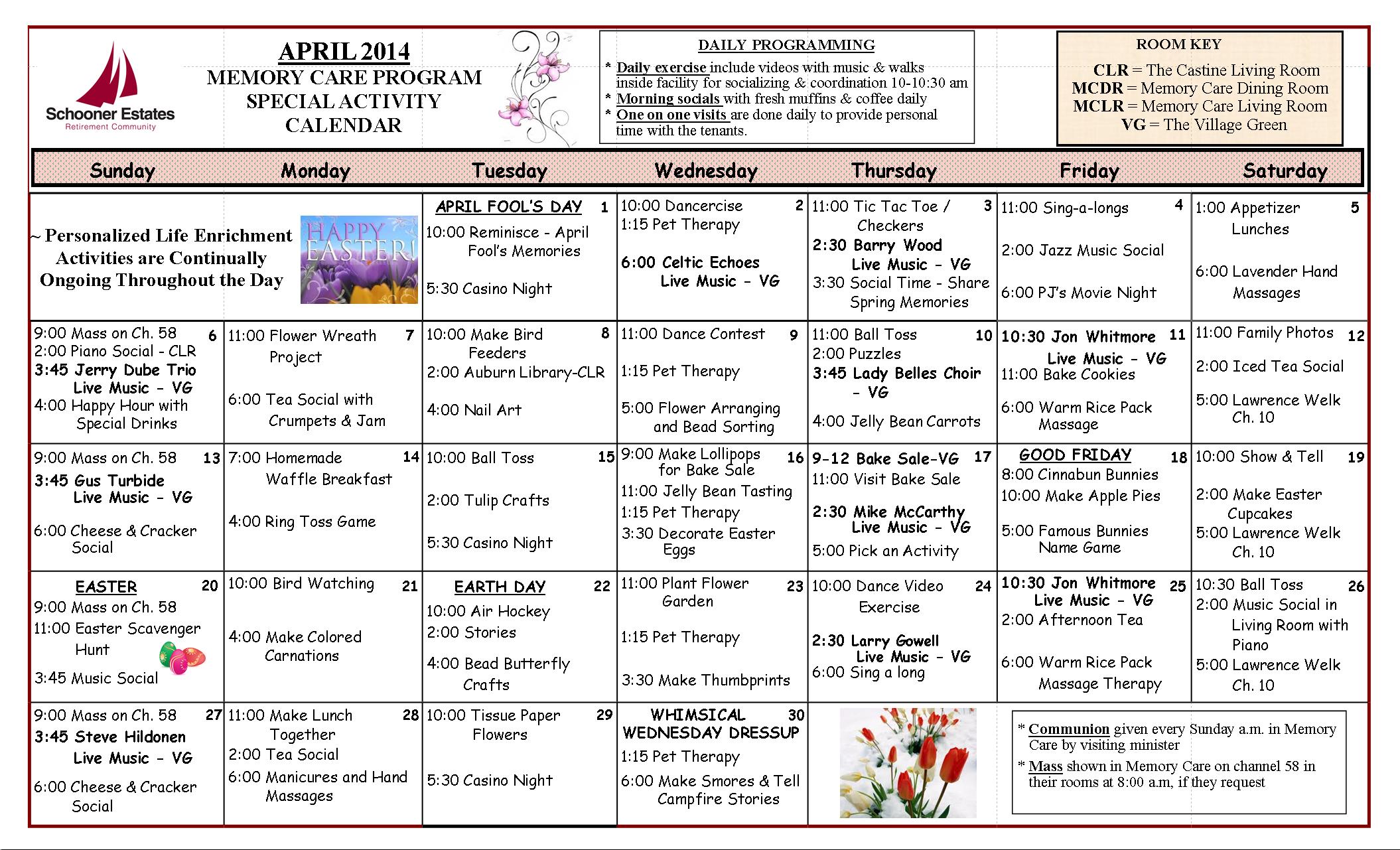 Memory Care Calendar April 2104