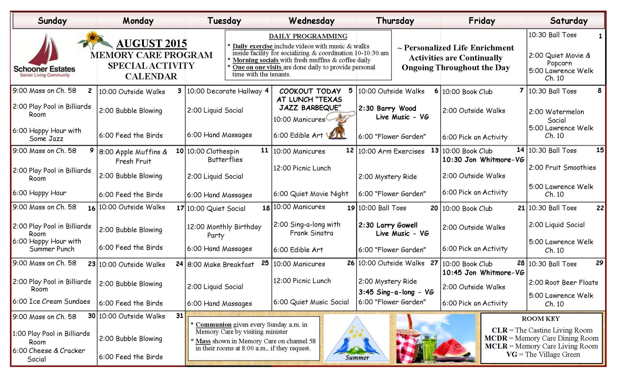 August 2015 Memory Care Activity Calendar