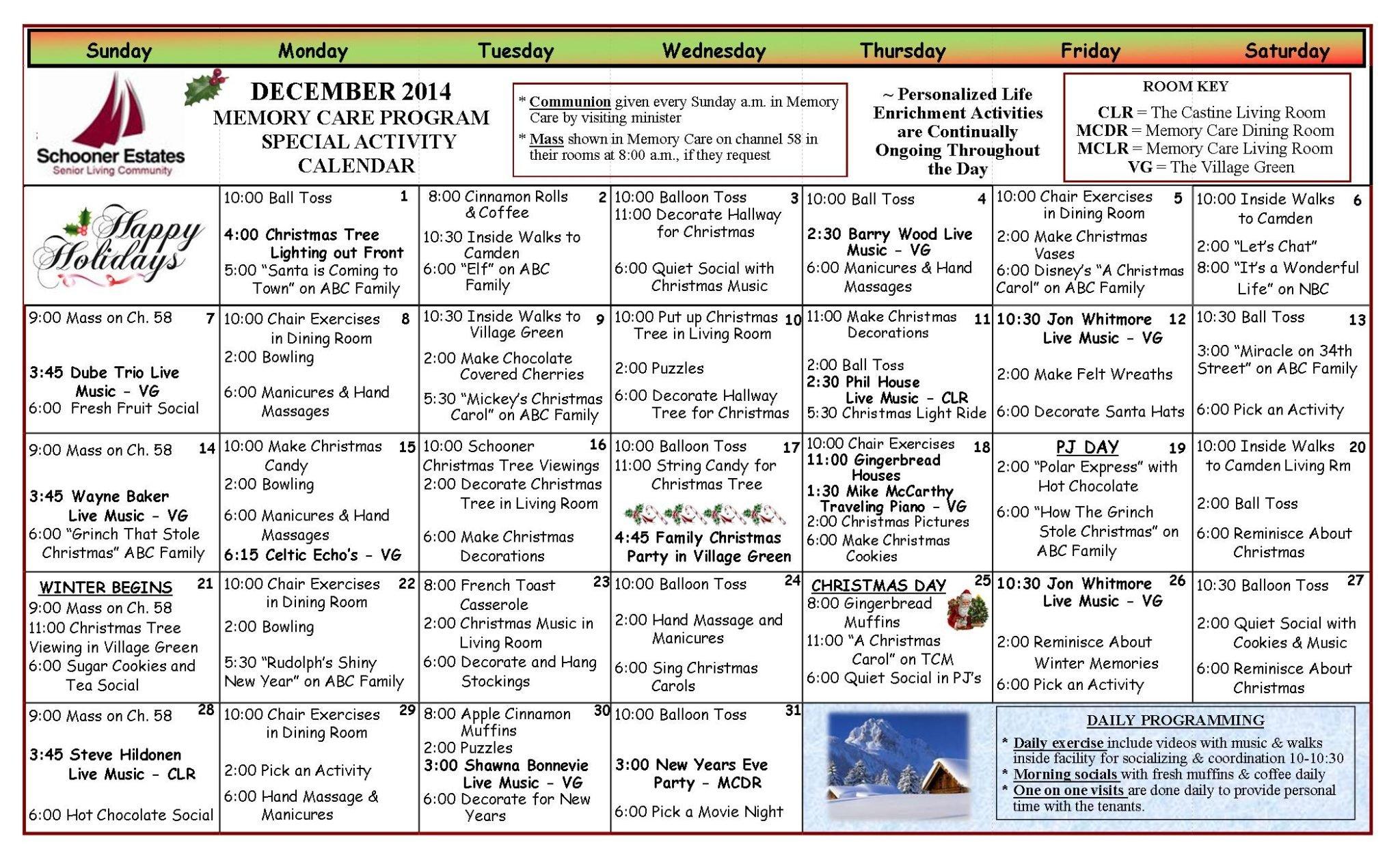 Memory Care Calendar December 2014