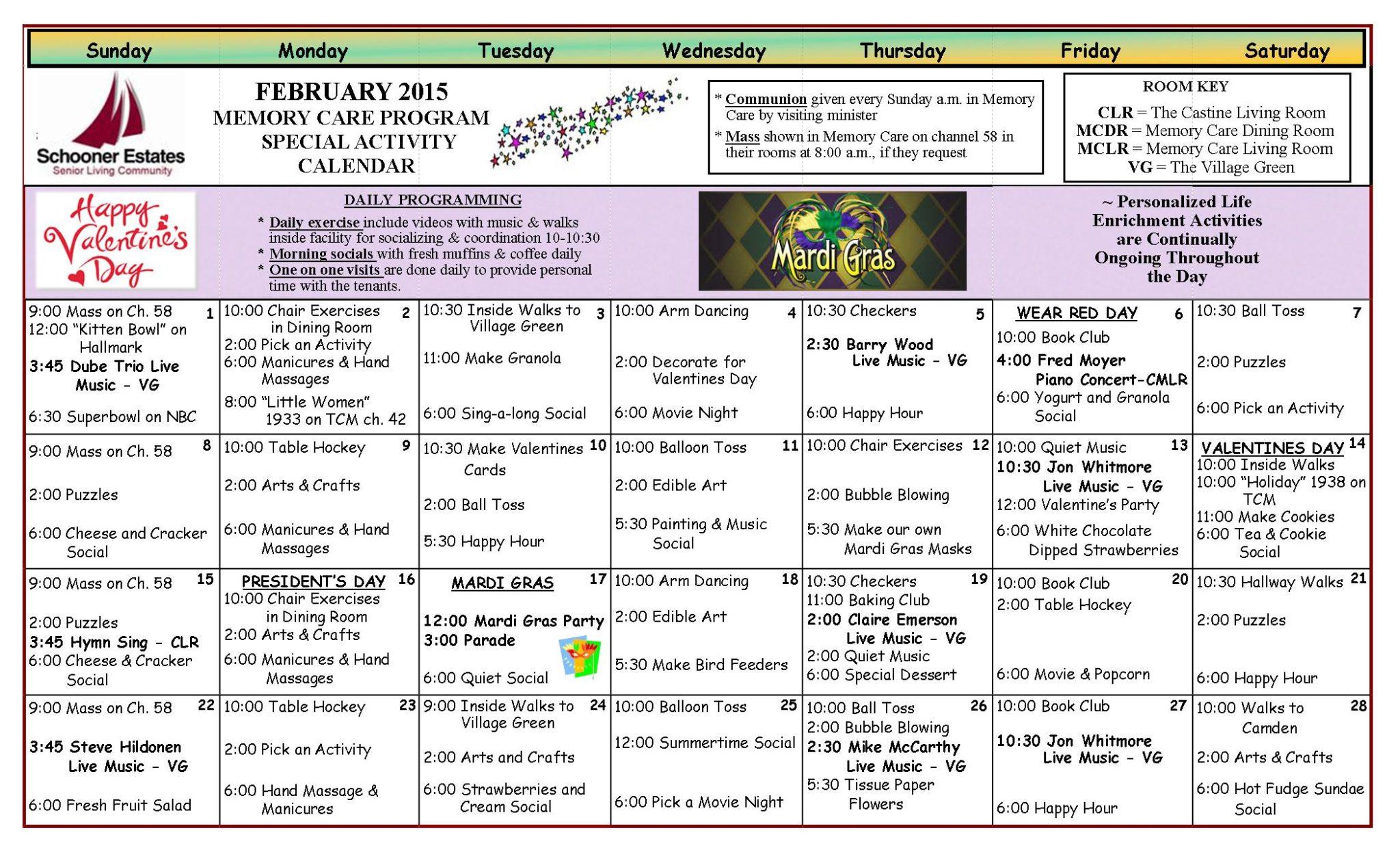 Memory Care Calendar February 2015