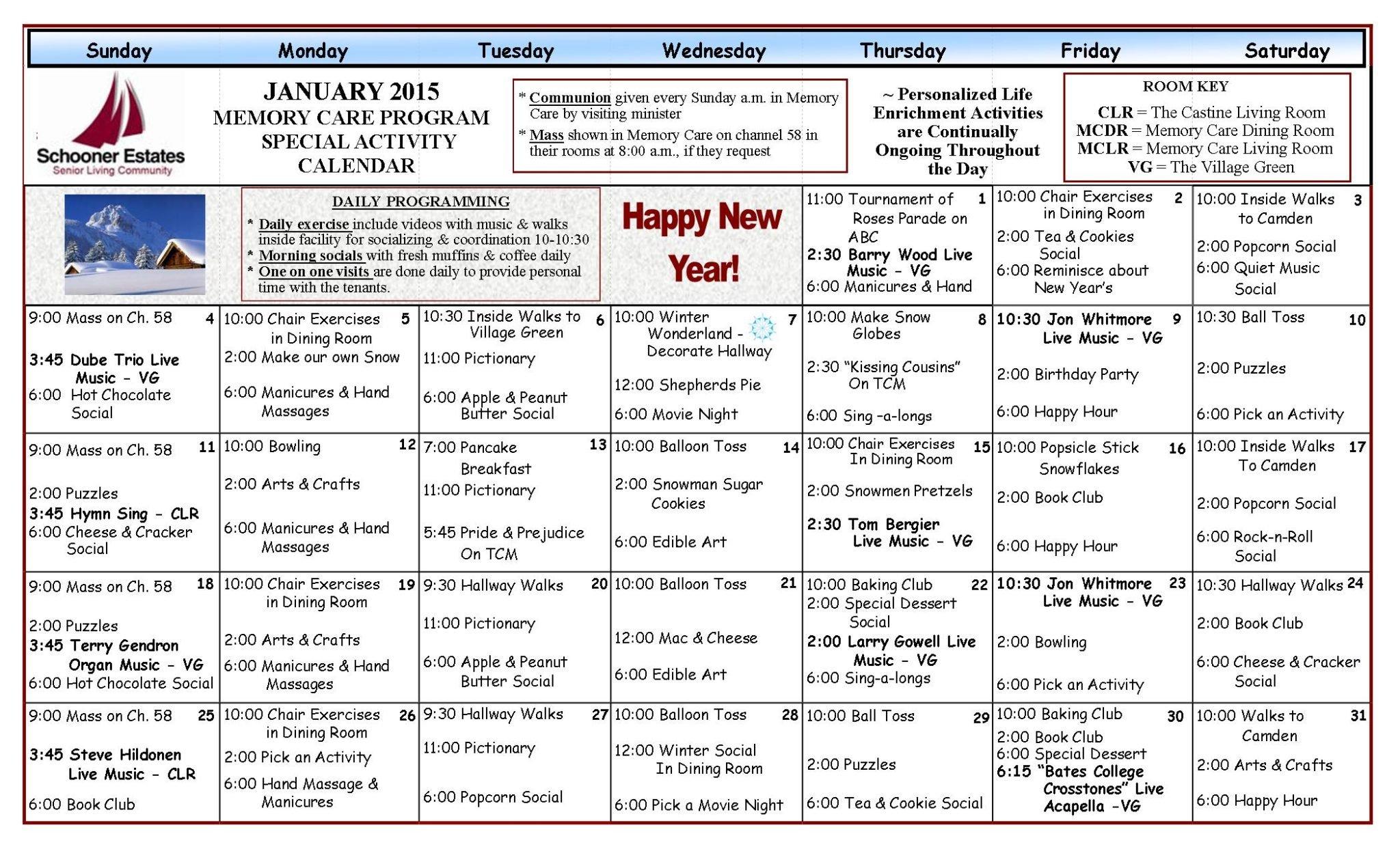 Memory Care Calendar January 2015