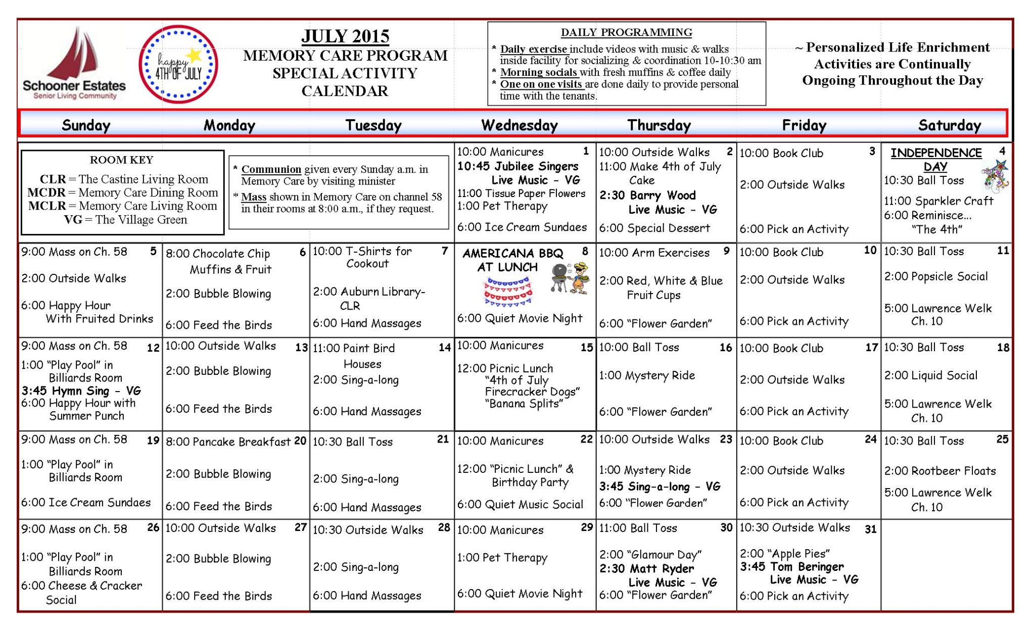 July 2015 Memory Care Activity Calendar