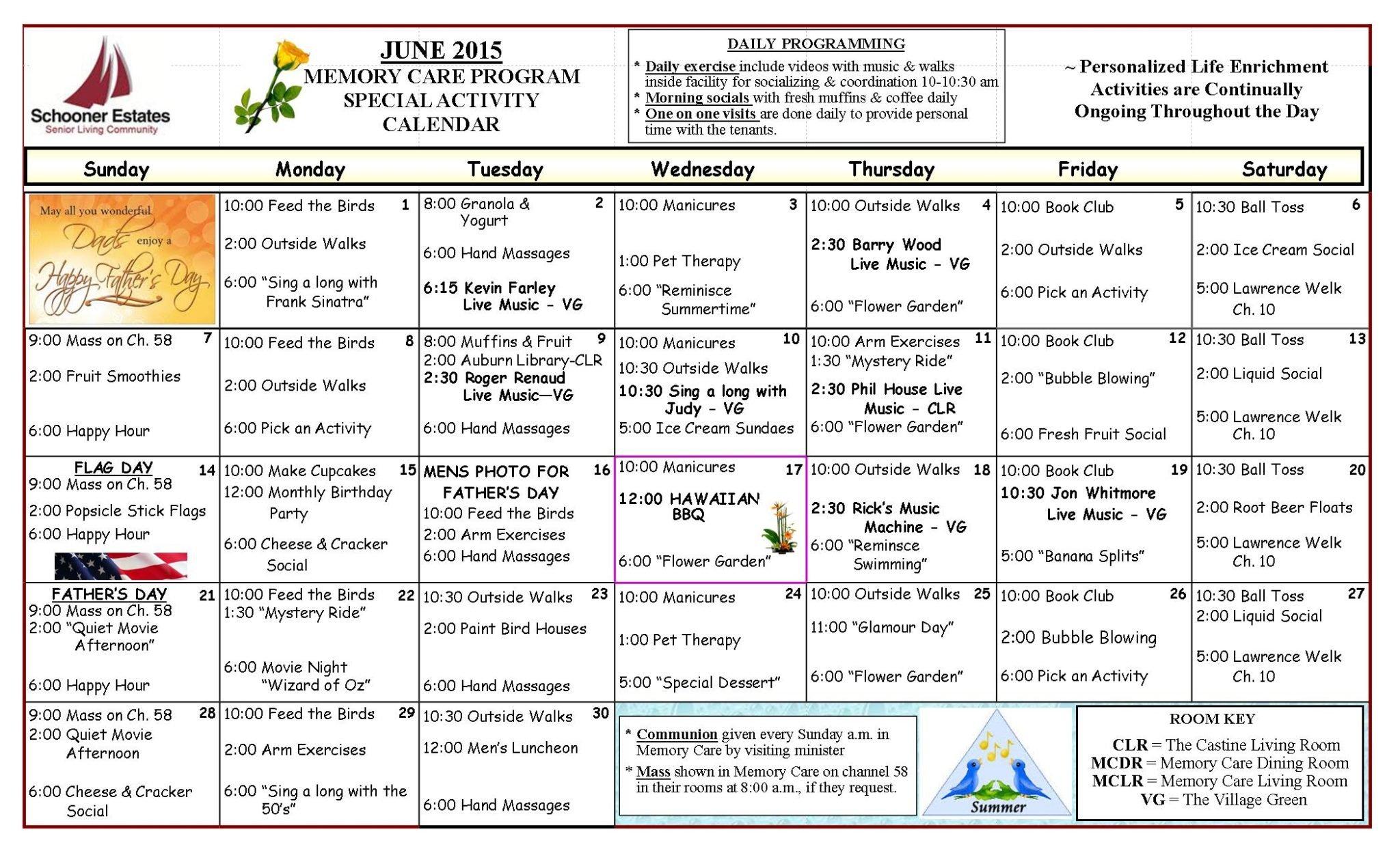 June 2015 Memory Care Calendar