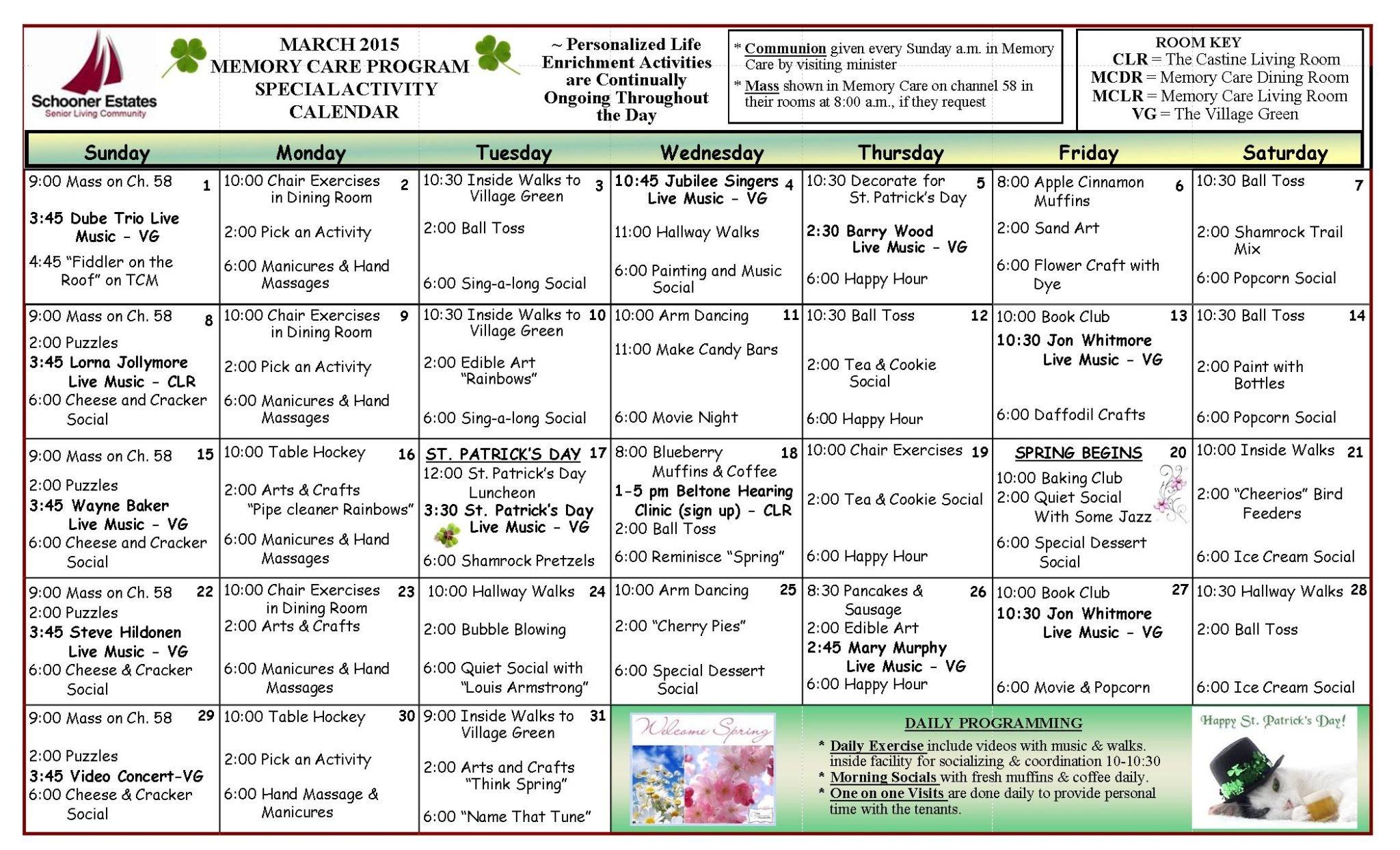 Memory Care Calendar March 2015