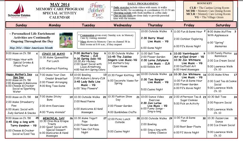 Memory Care Calendar May 2014