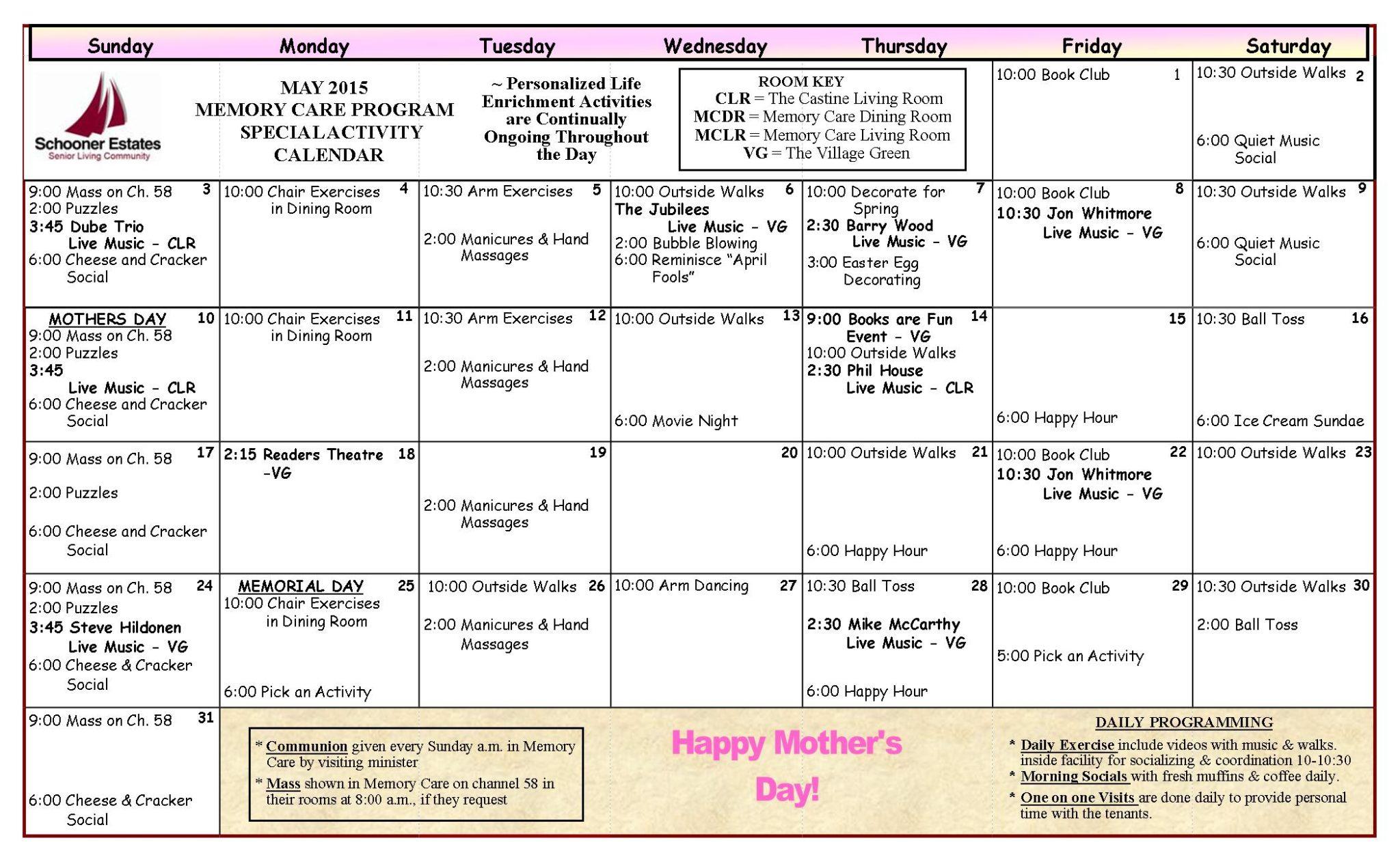 Memory Care Calendar May 2015