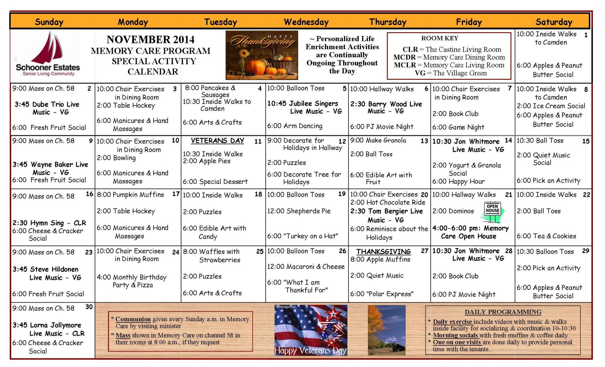 Memory Care Calendar November 2014