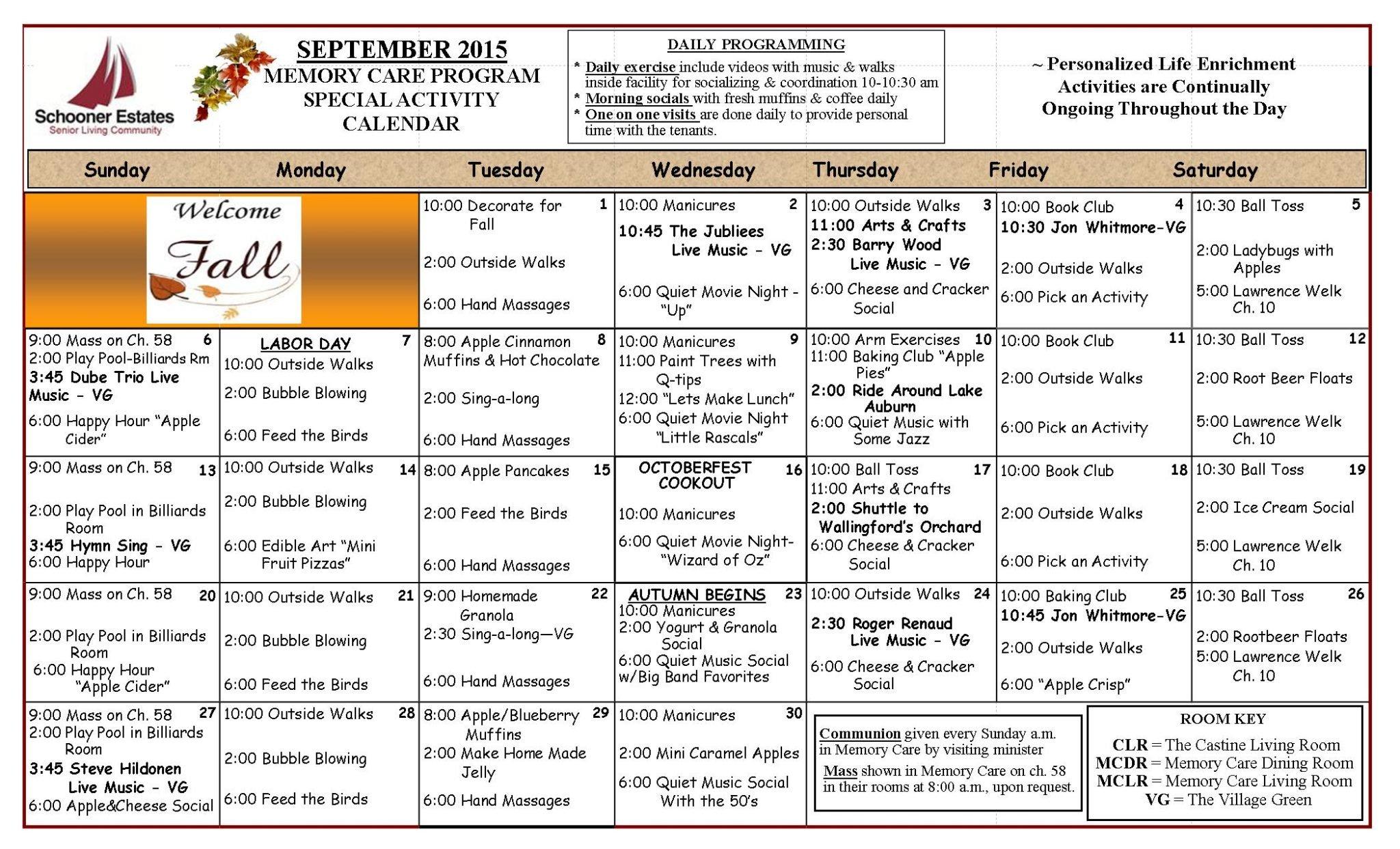 September 2015 Memory Care Calendar