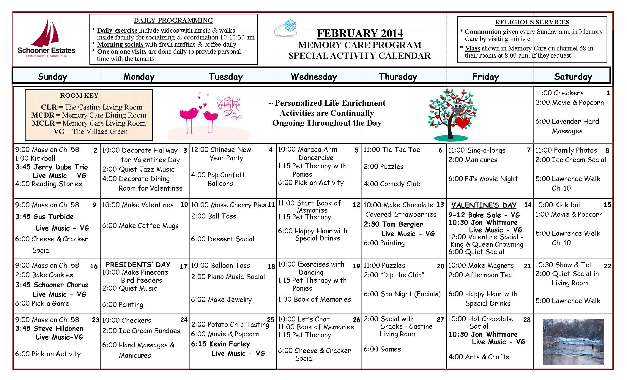 Memory Care February Calendar 2014
