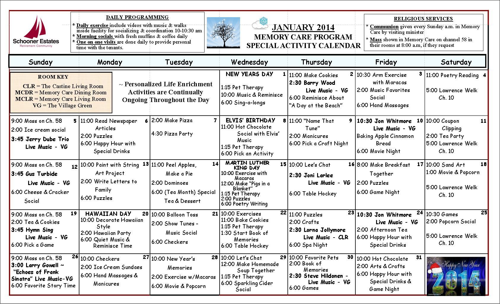 Memory Care January 2014 Calendar