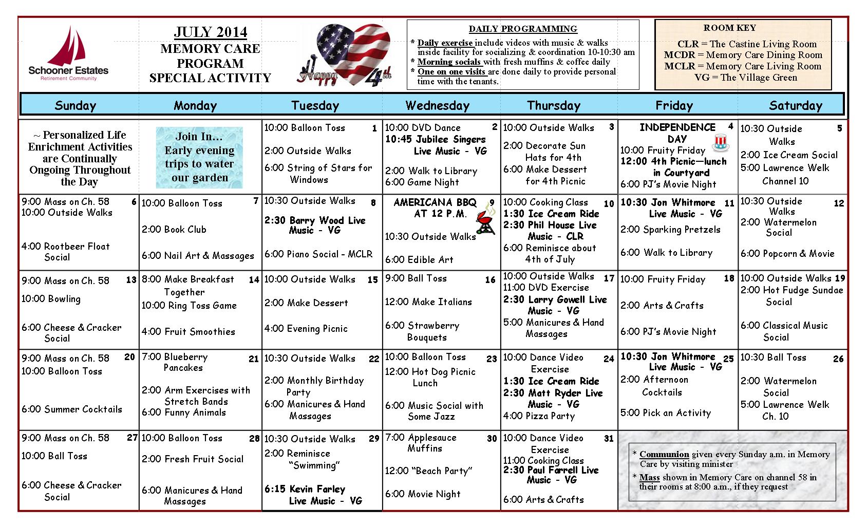 Memory Care July 2014 Calendar