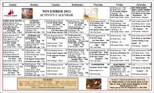 November 2013 Activity Calendar