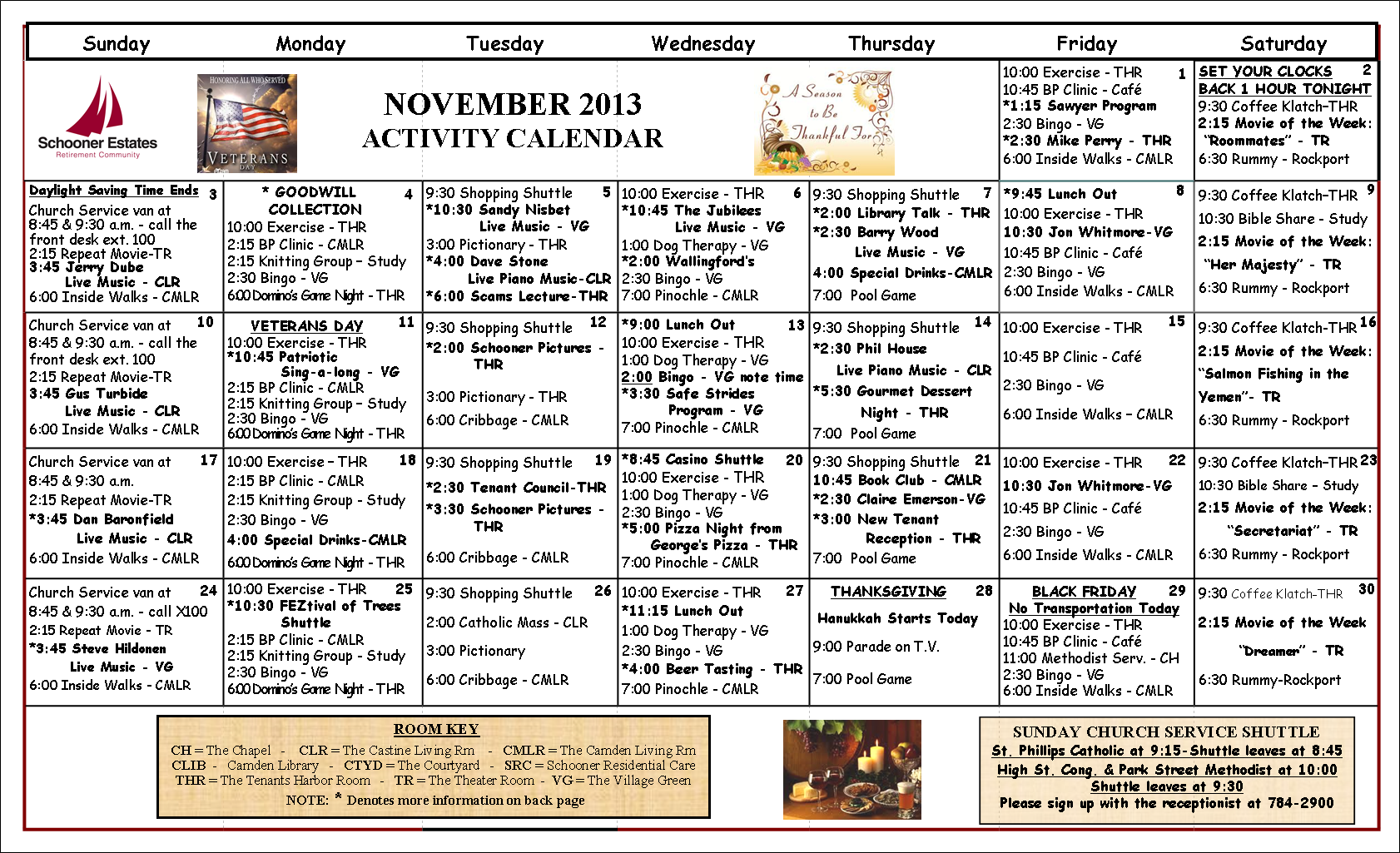 November 2013 calendar of events for Assisted living activity calendar template