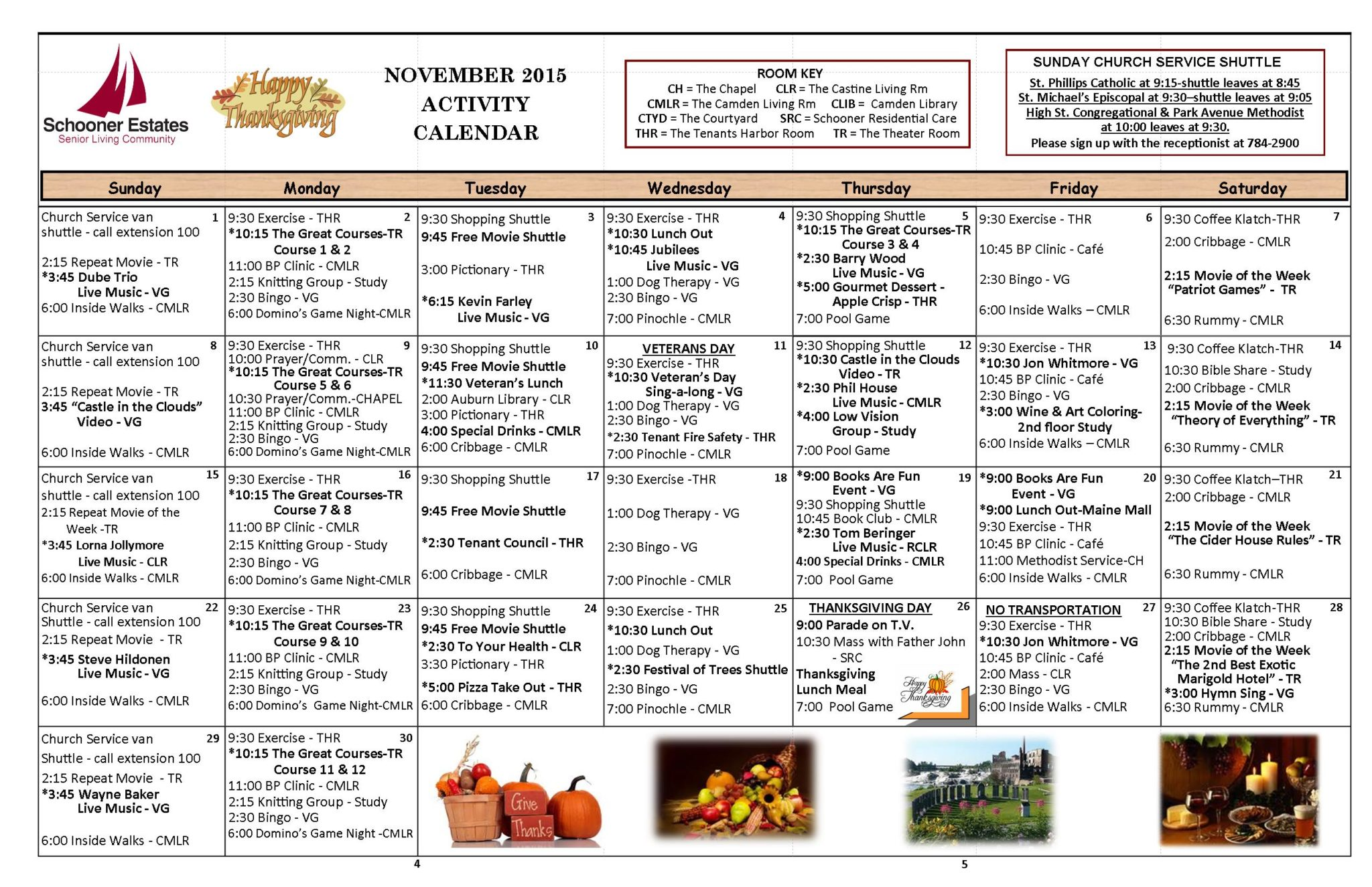 November 2015 Independent Living Activity Calendar