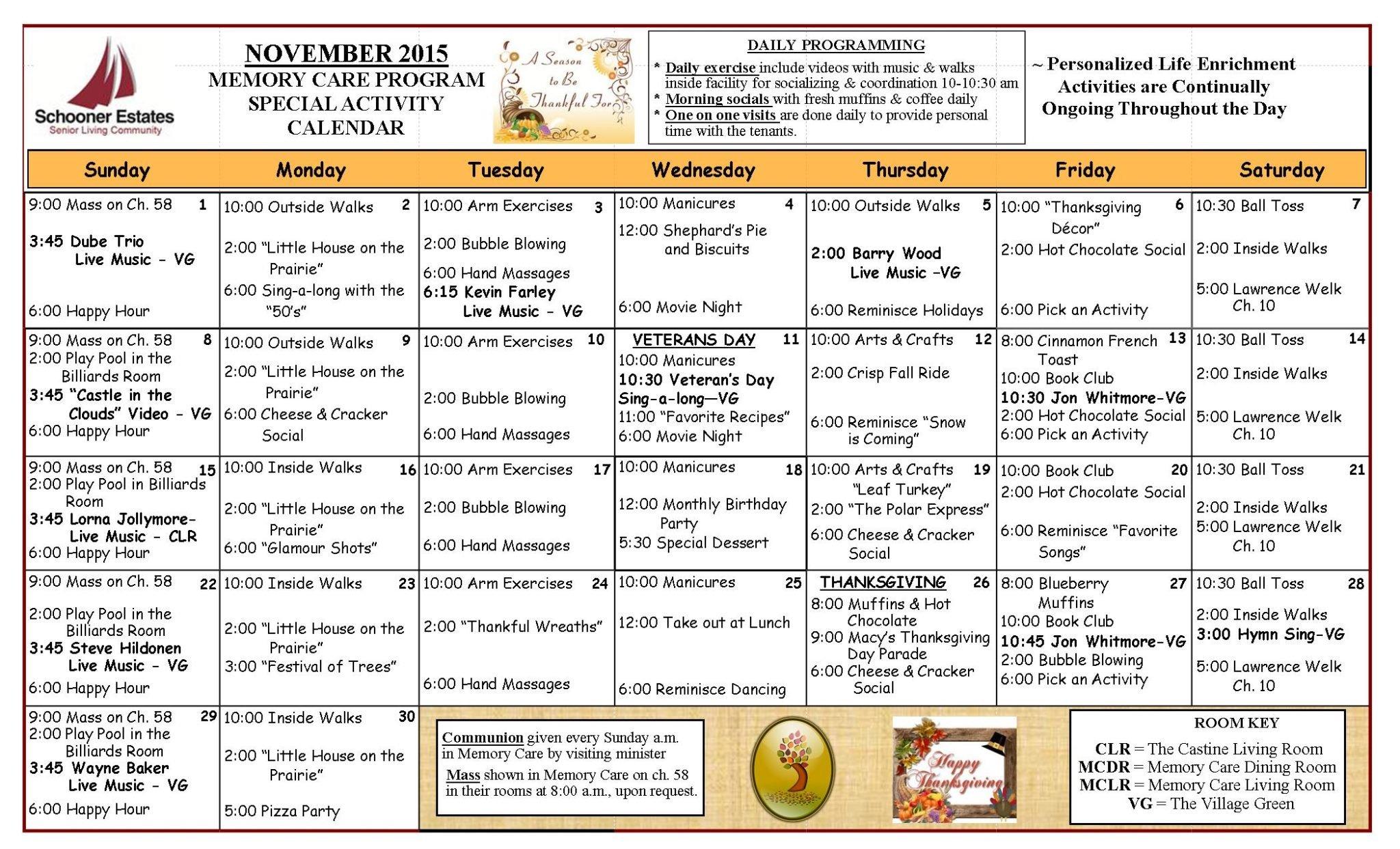 November 2015 Memory Care Activity Calendar