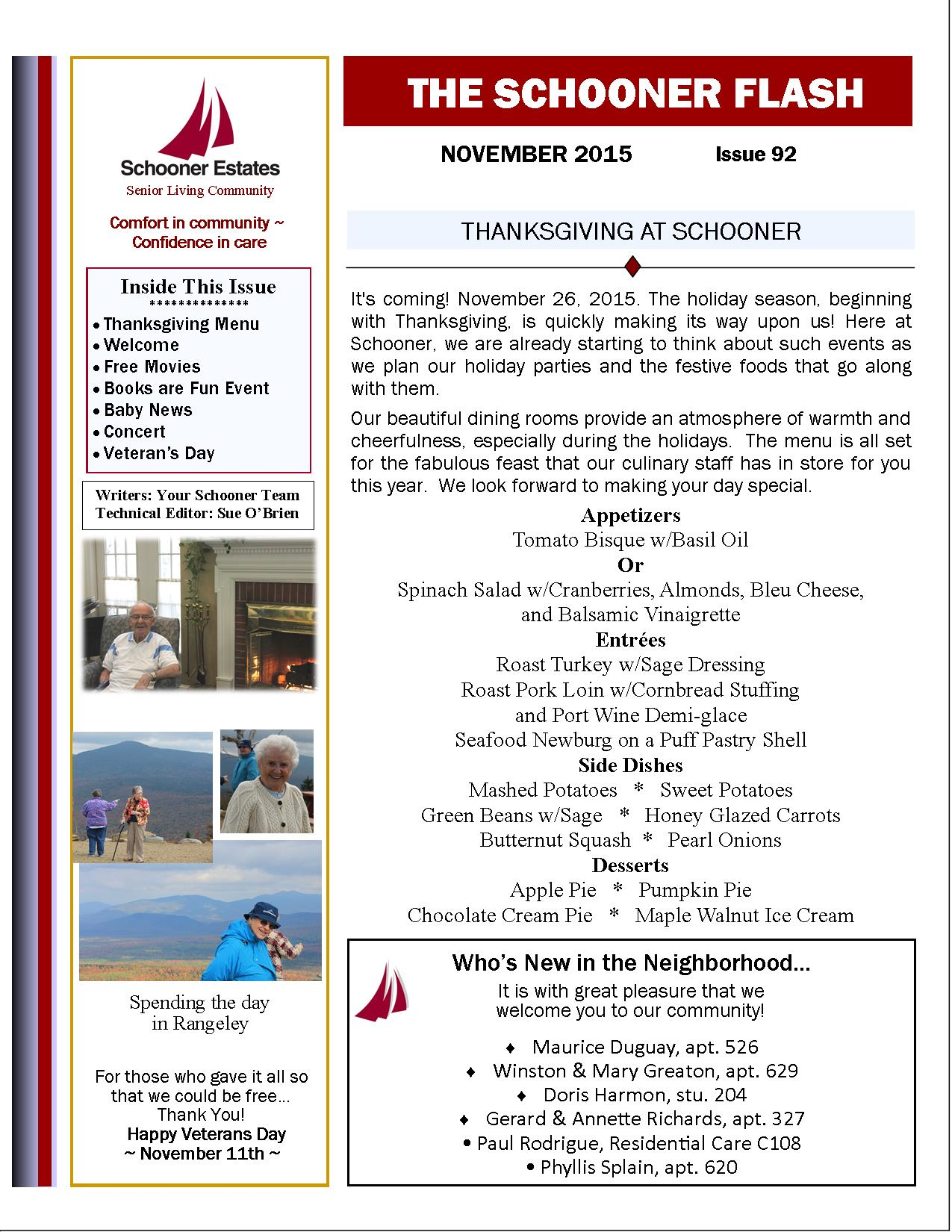 November 2015 Schooner Flash Newsletter