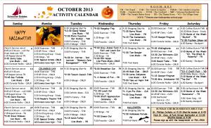 October 2013 activity calendar
