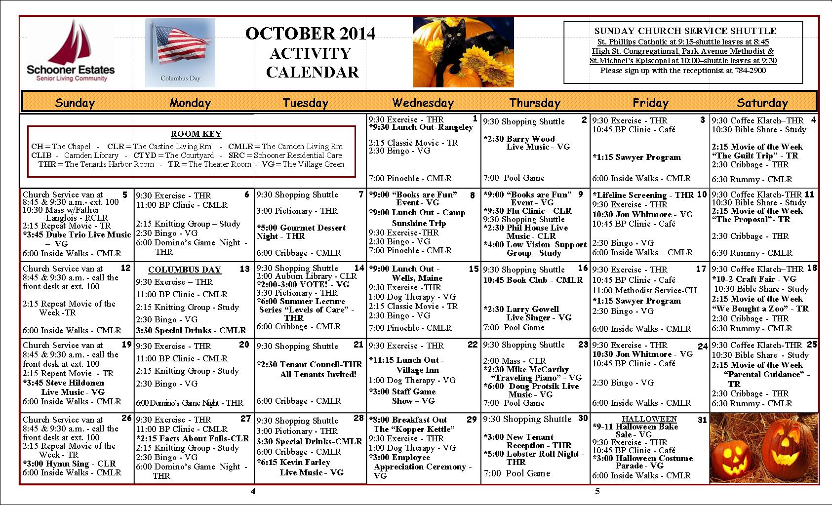 October 2014 Camden Calendar