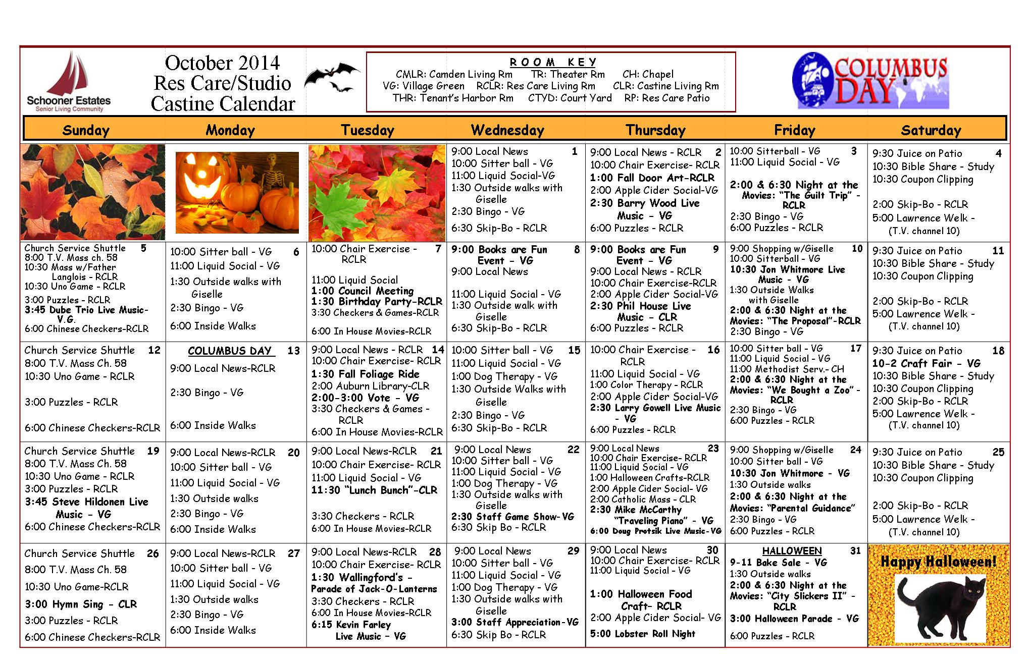 October 2014 Castine - Residential Care Calendar