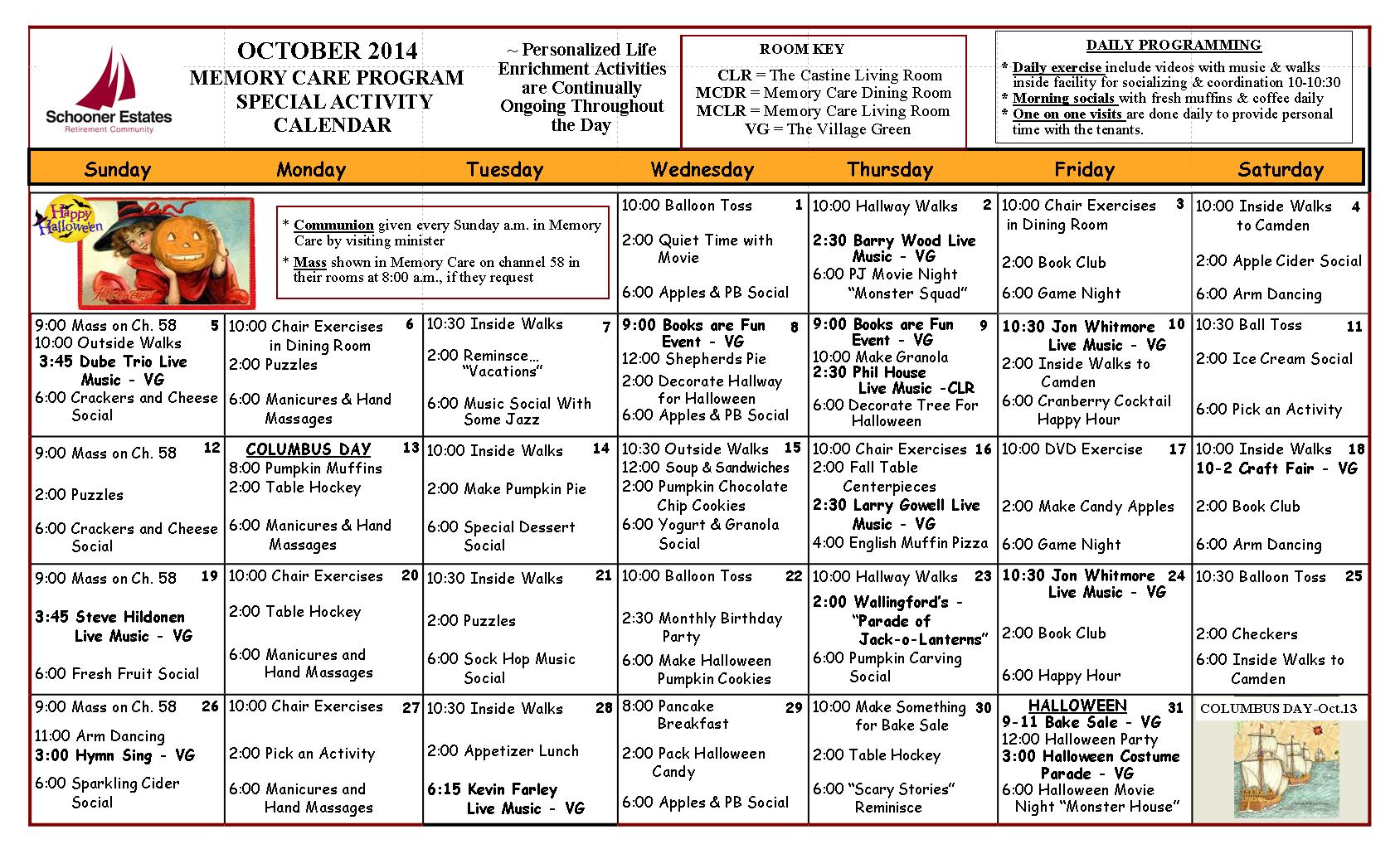 October 2014 Memory Care Calendar