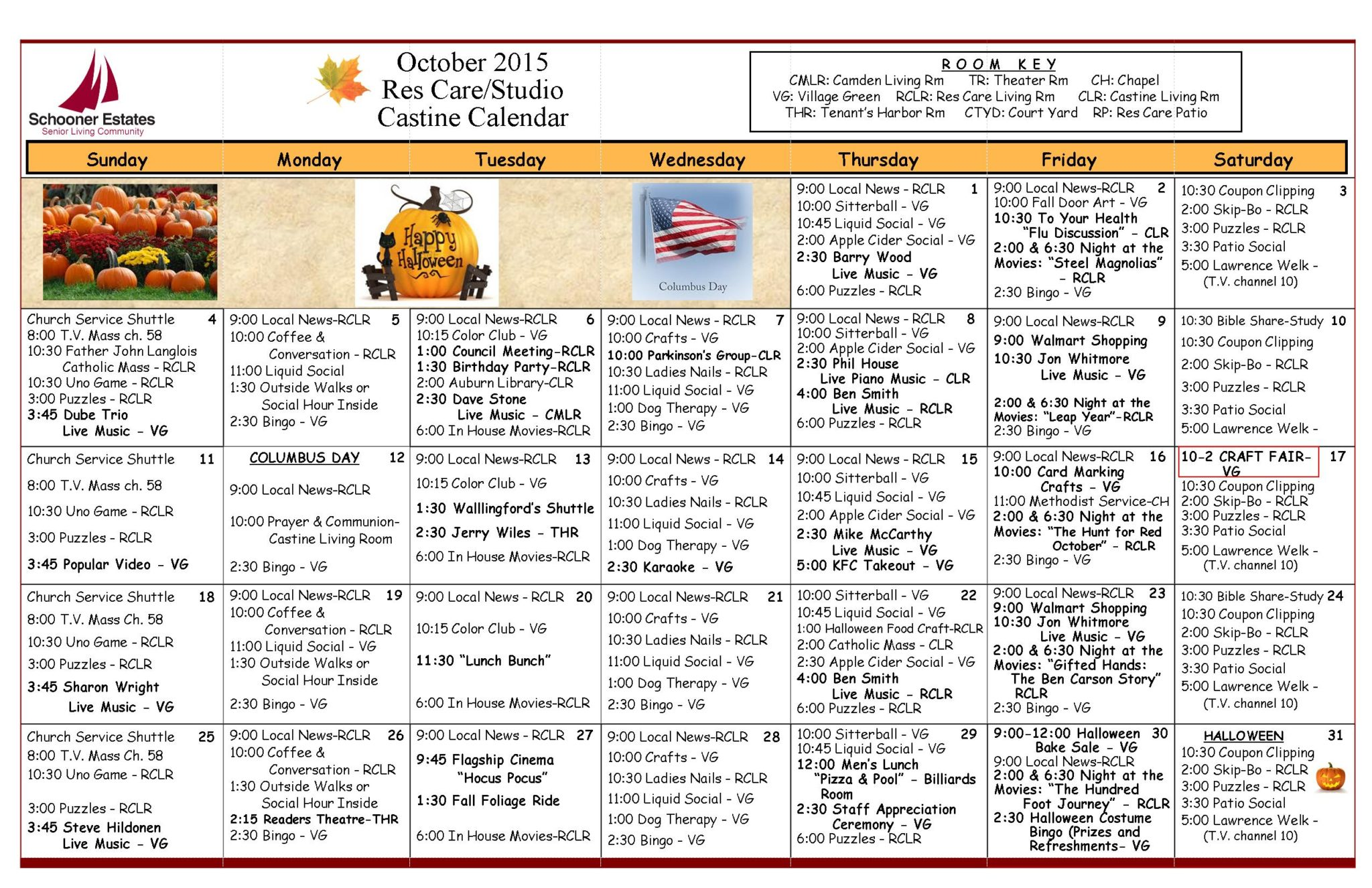 October 2015 Assisted Living and Residential Care Activity Calendar