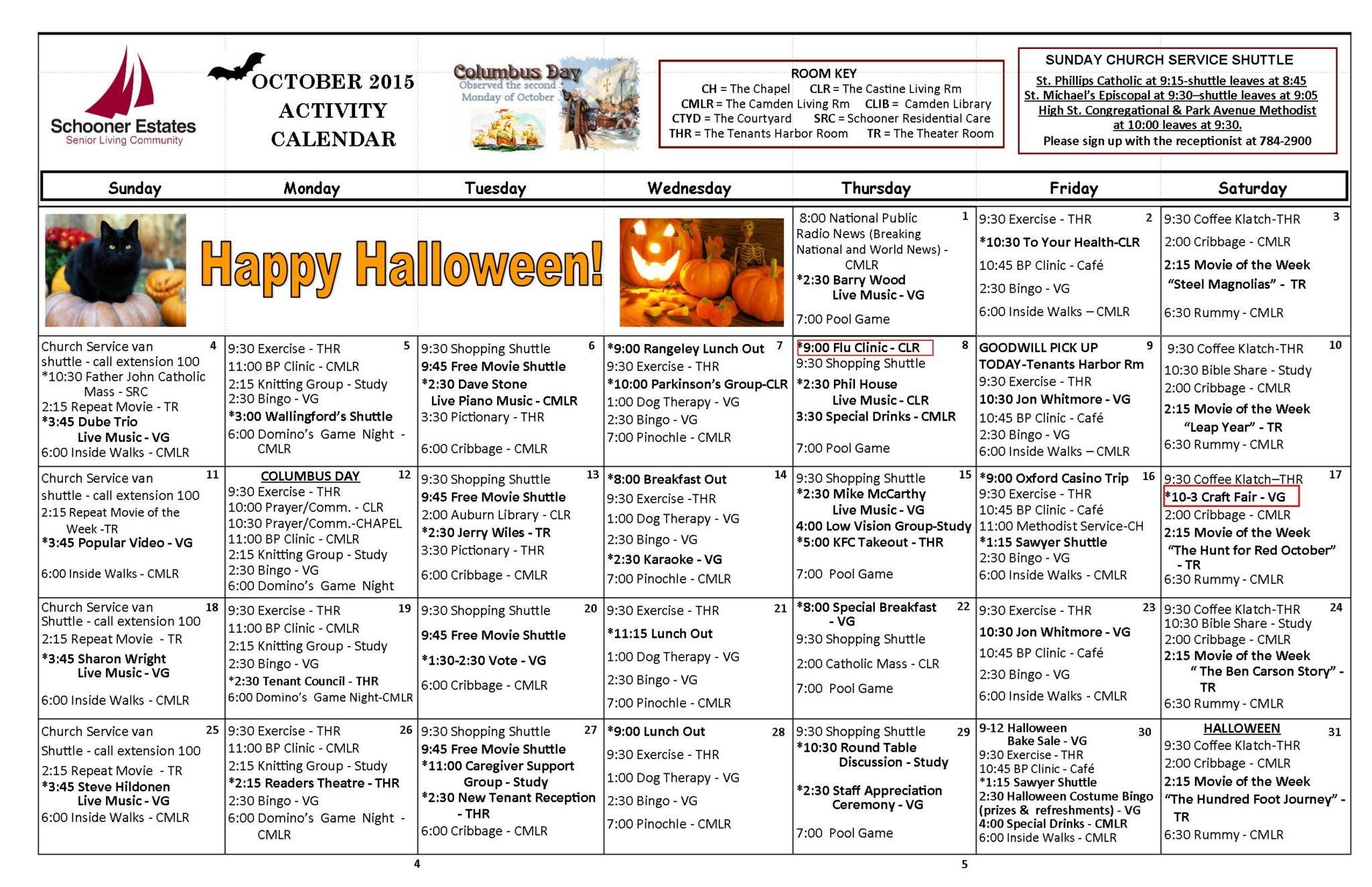 October 2015 Independent Living Activity Calendar