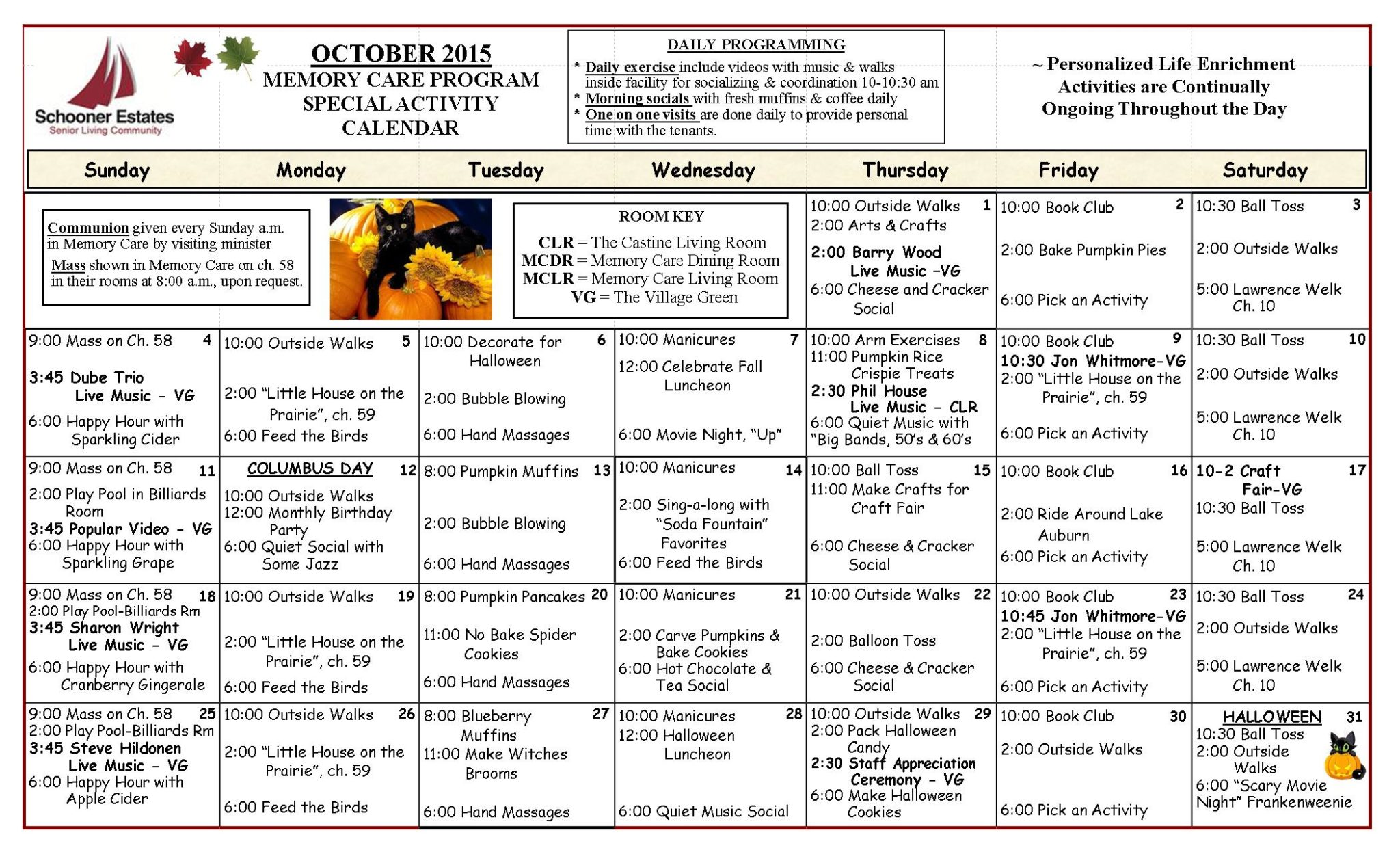 October 2015 Memory Care Activity Calendar