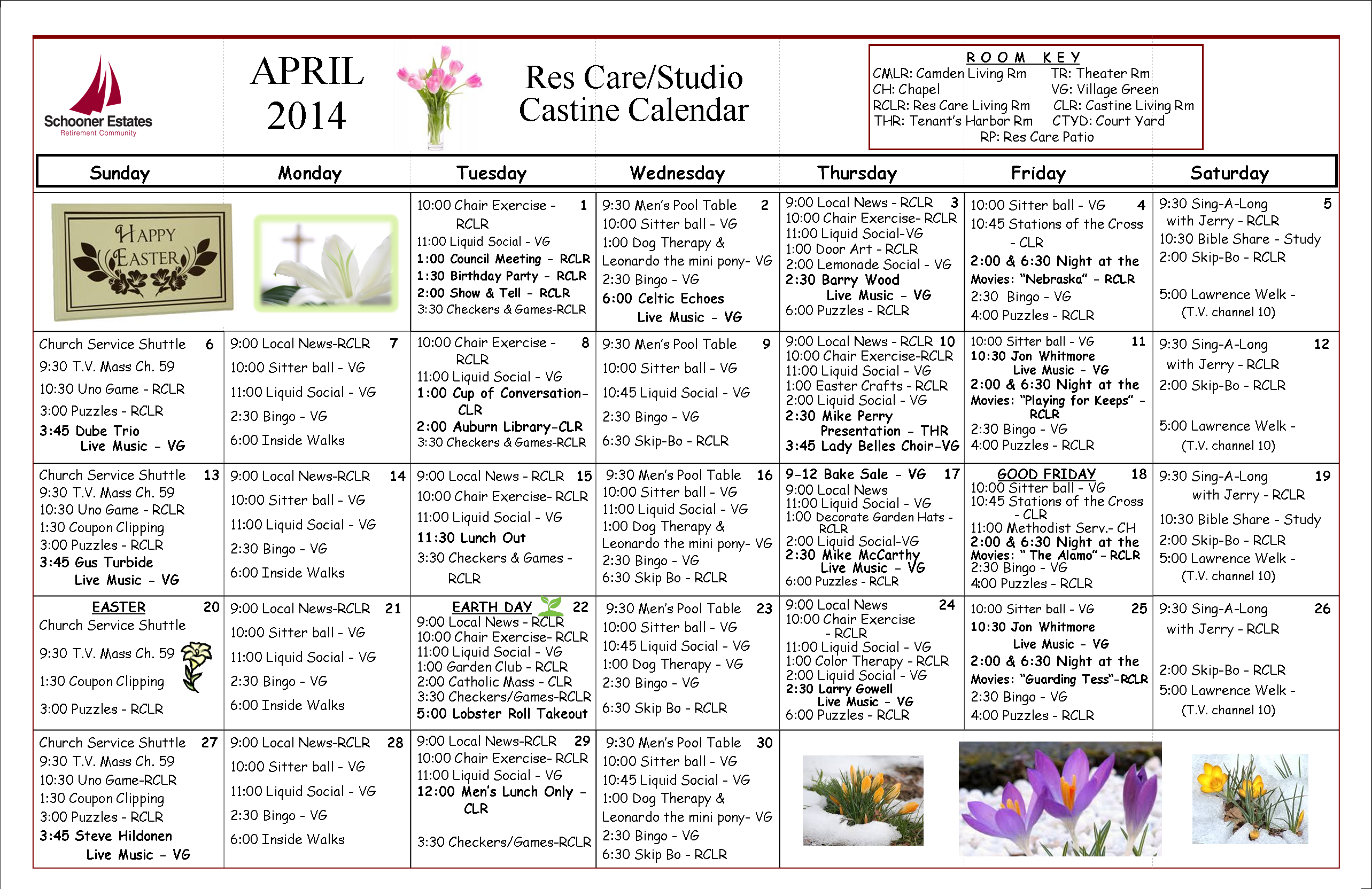 Res Care April Calendar  2014