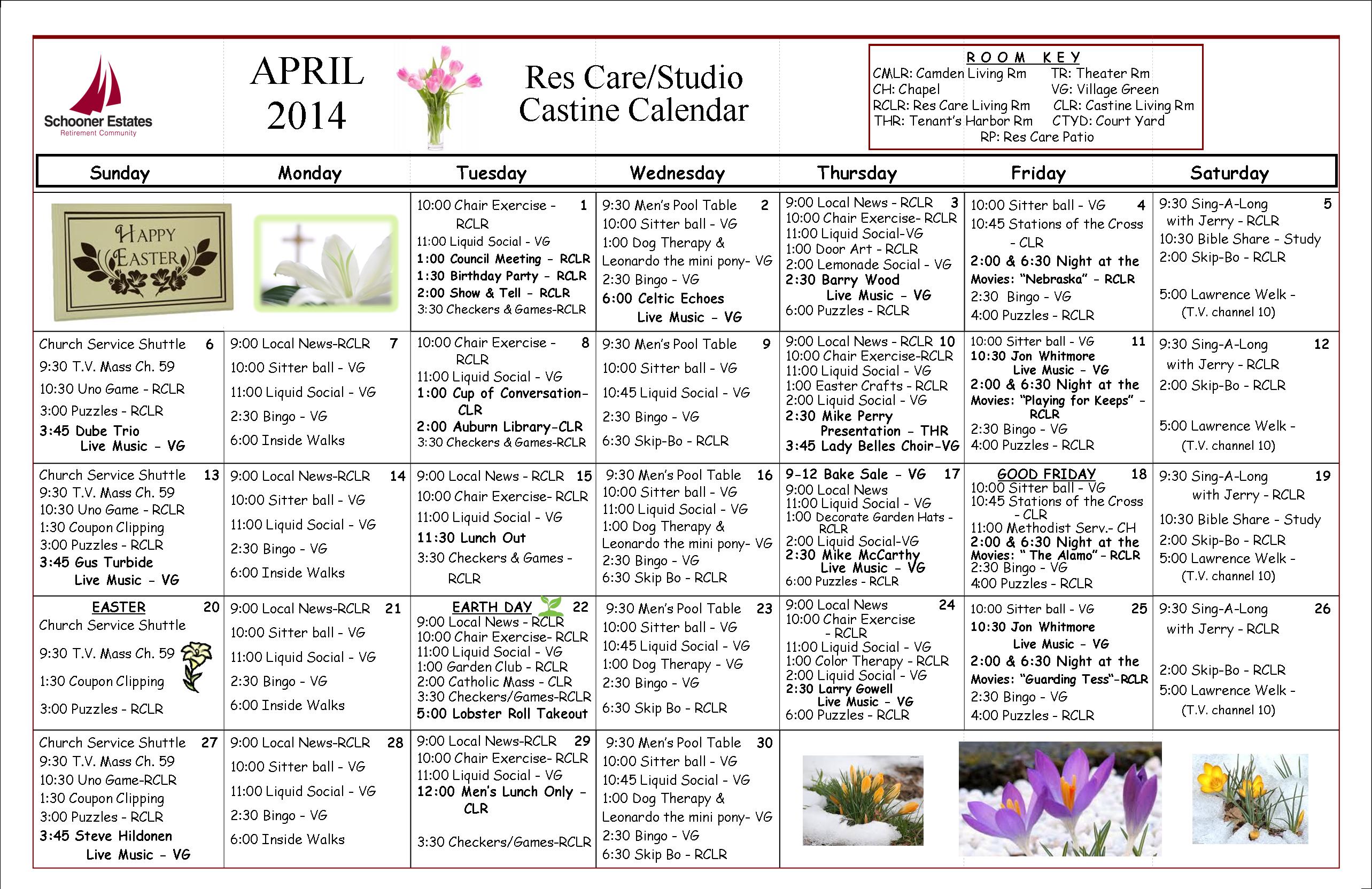 Res Care April Calendar  2014