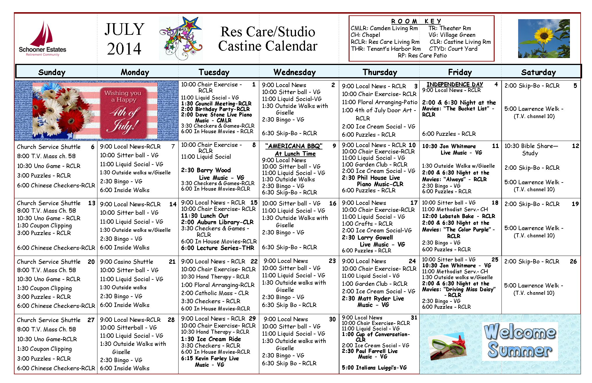 Res Care - Castine July 2014 Calendar