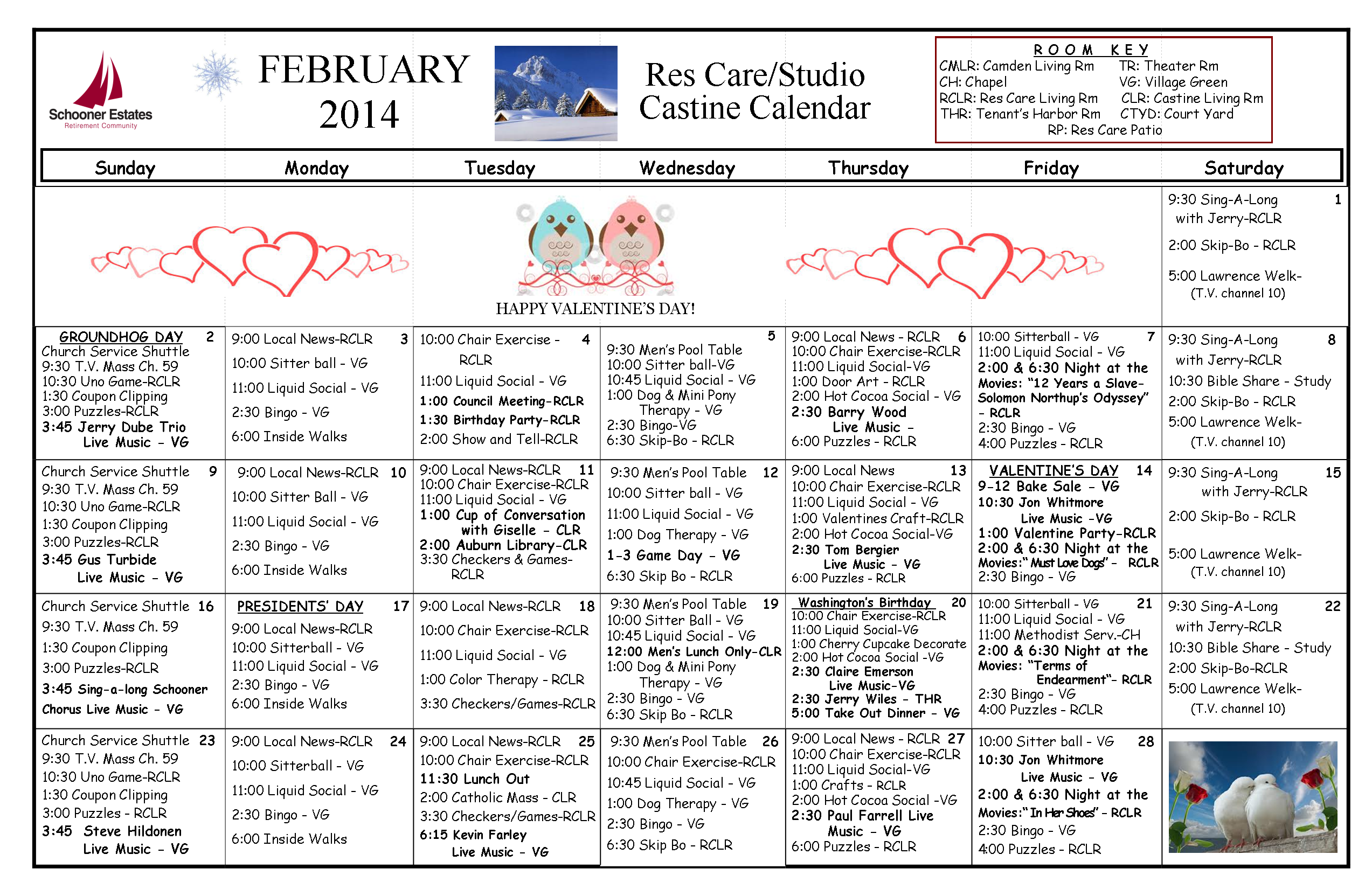 Residental  Care February 2014 Calendar