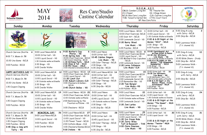 Residential Care Calendar May 2014