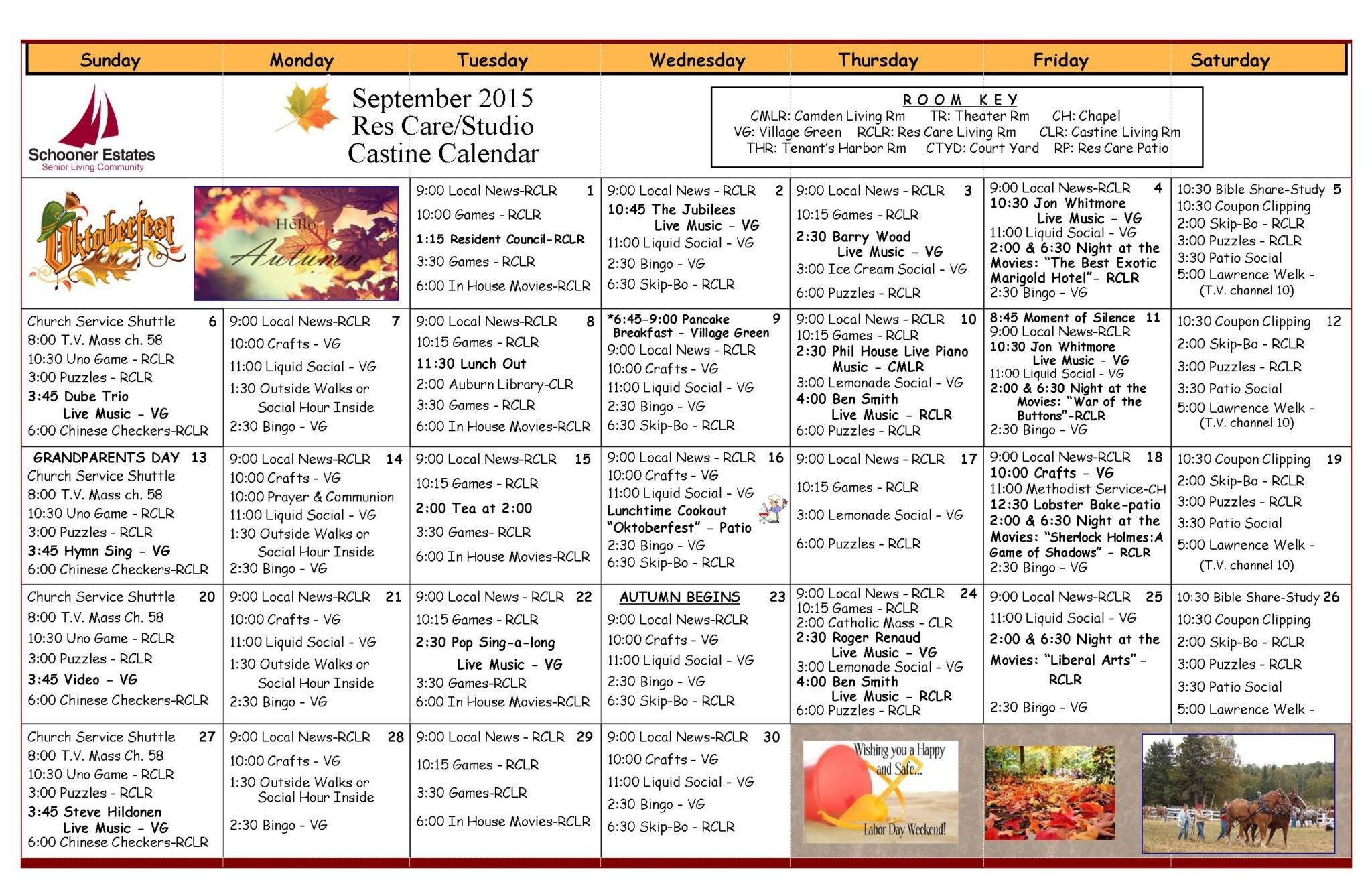 September 2015 Residential Care Calendar