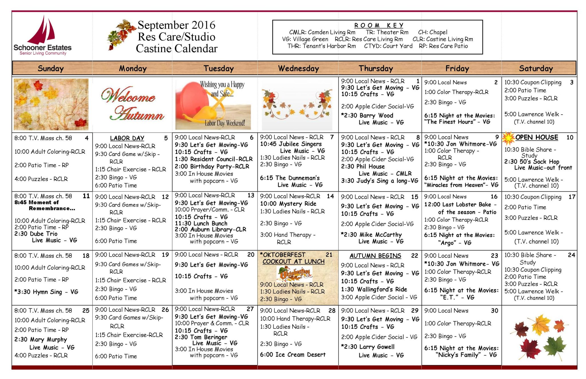 September 2016 Assisted Living and Residential Care Activity Calendar