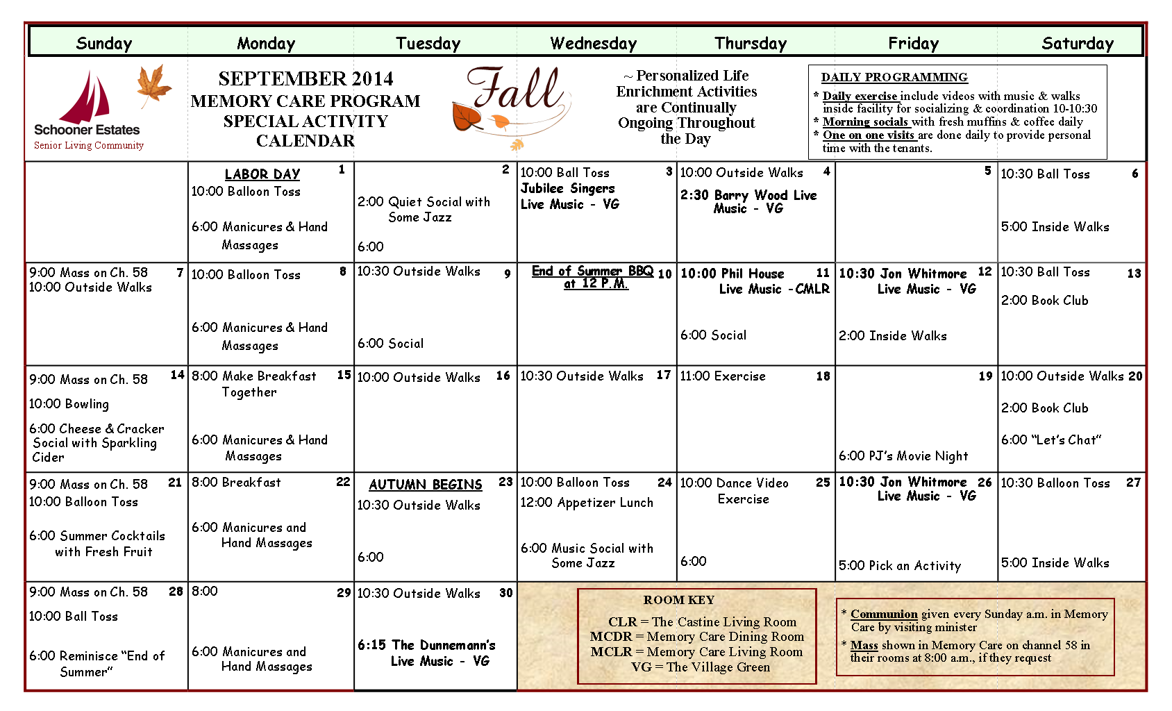 September Schooner Estates Memory Care Calendar
