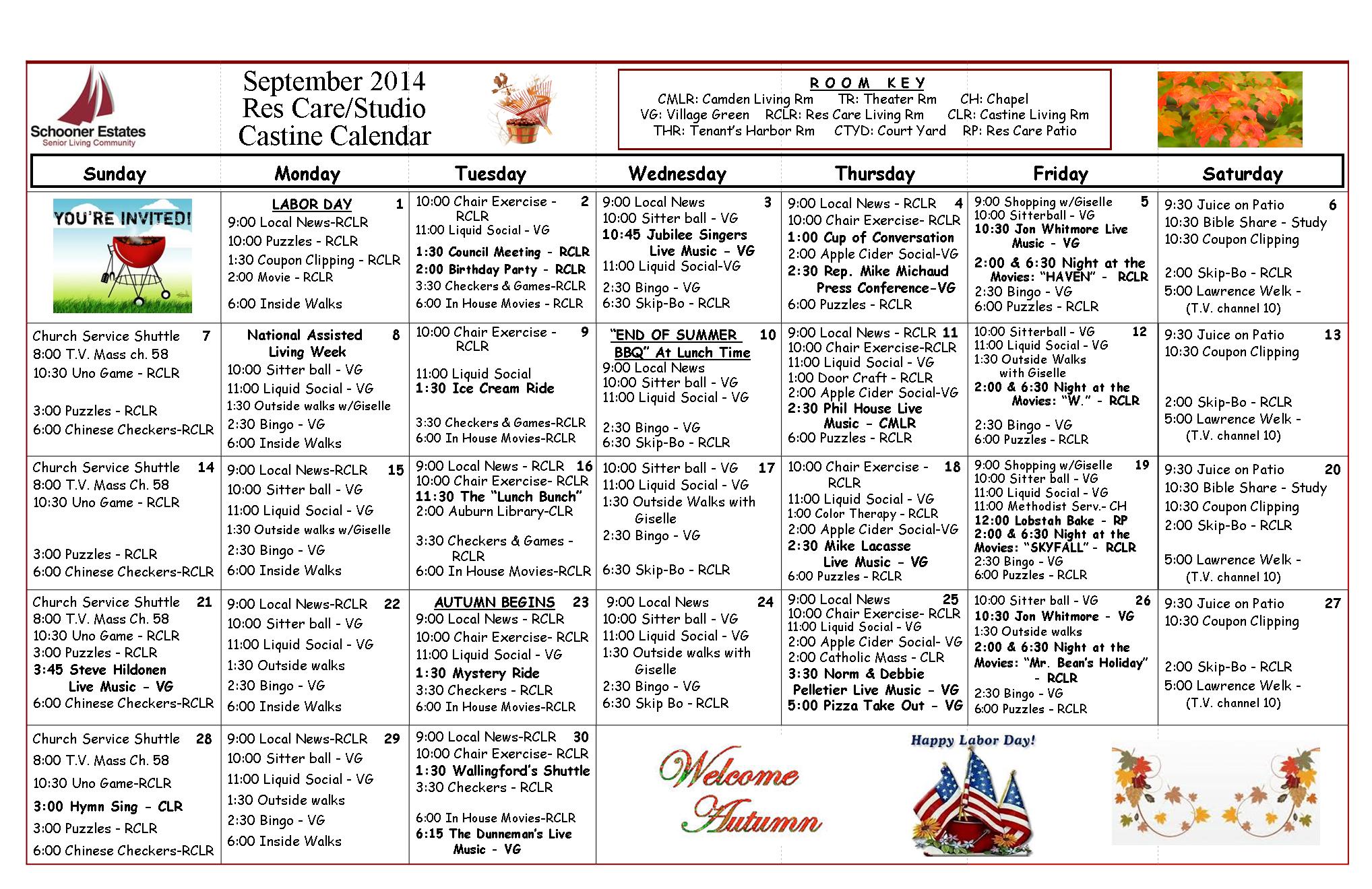 September Schooner Estates Residential Care - Castine Calendar